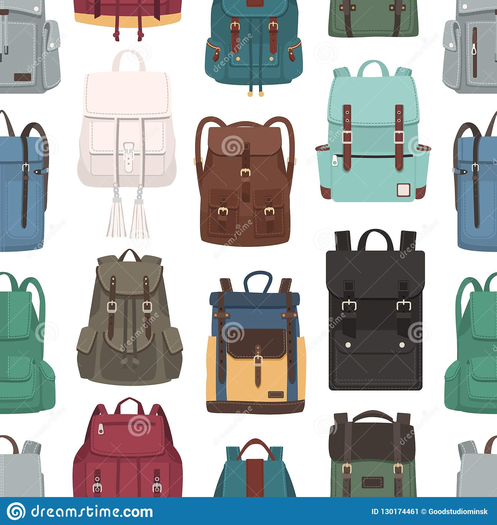 Colored seamless pattern with trendy backpacks or rucksacks of different  models. Backdrop with stylish bags 58d67df02957e