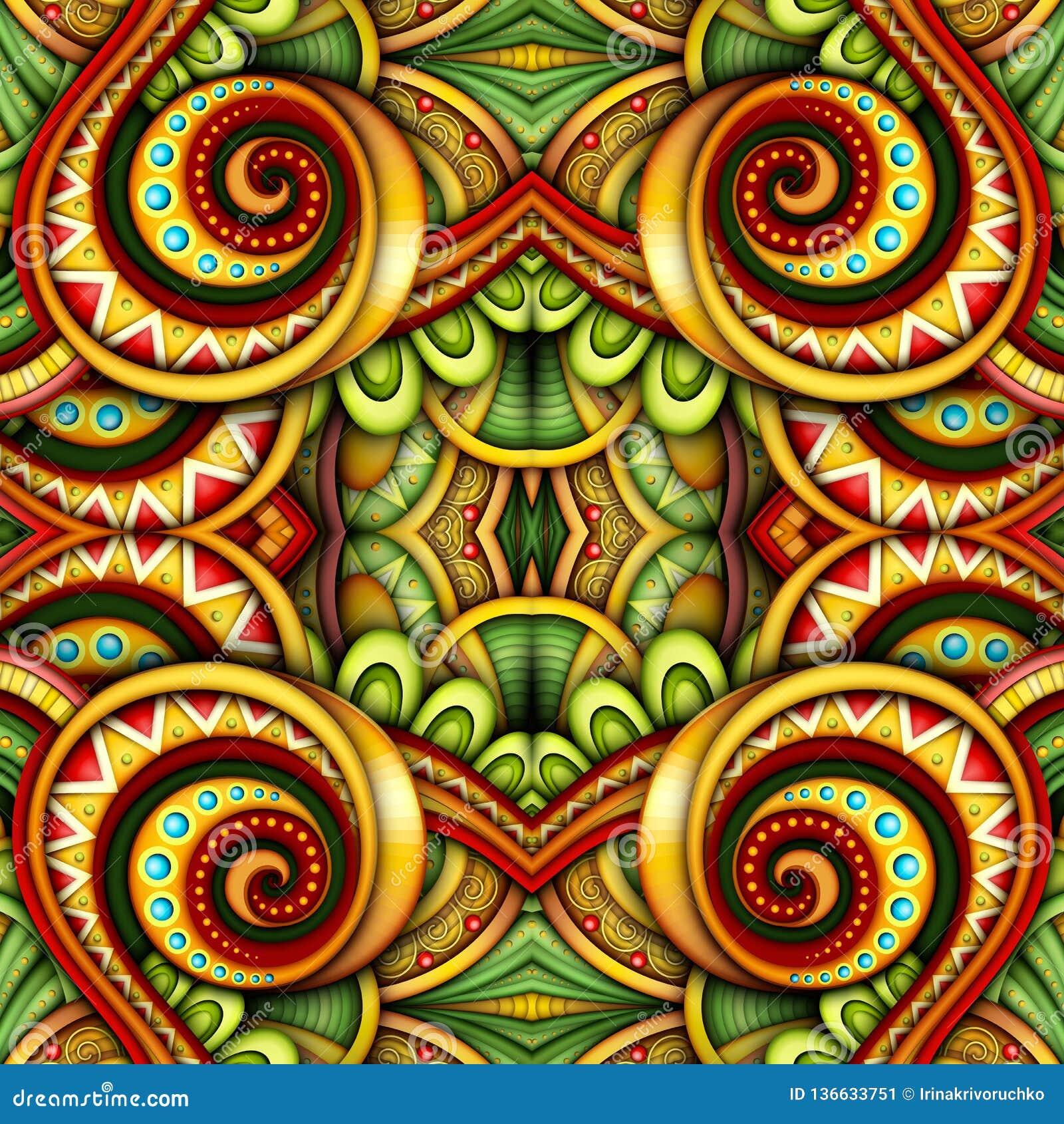 Colored Seamless Tile Pattern, Fantastic Kaleidoscope ...