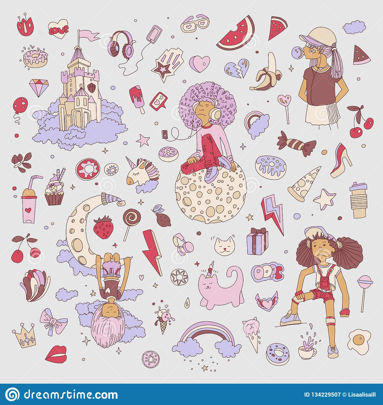 Colored set of teenage girl icons cute cartoon teen objects fun stickers design vector