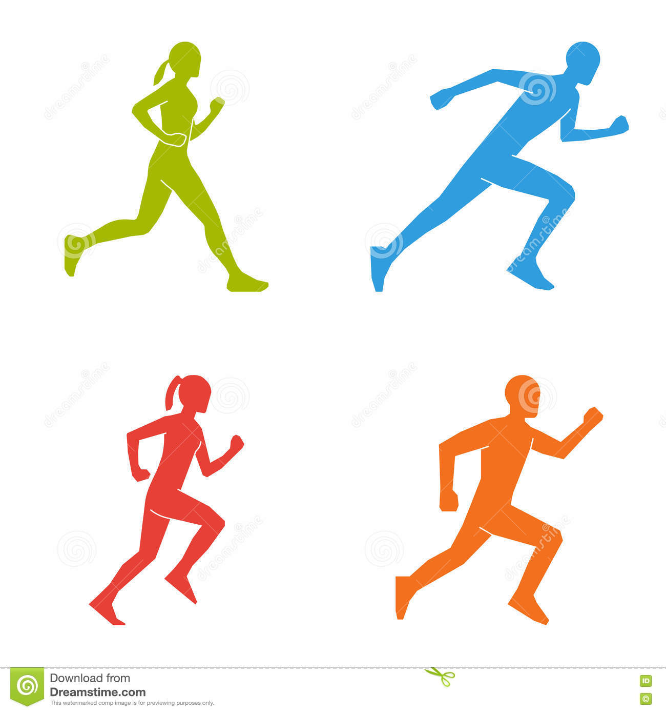 Colored silhouettes of runners. Flat figures marathoner.