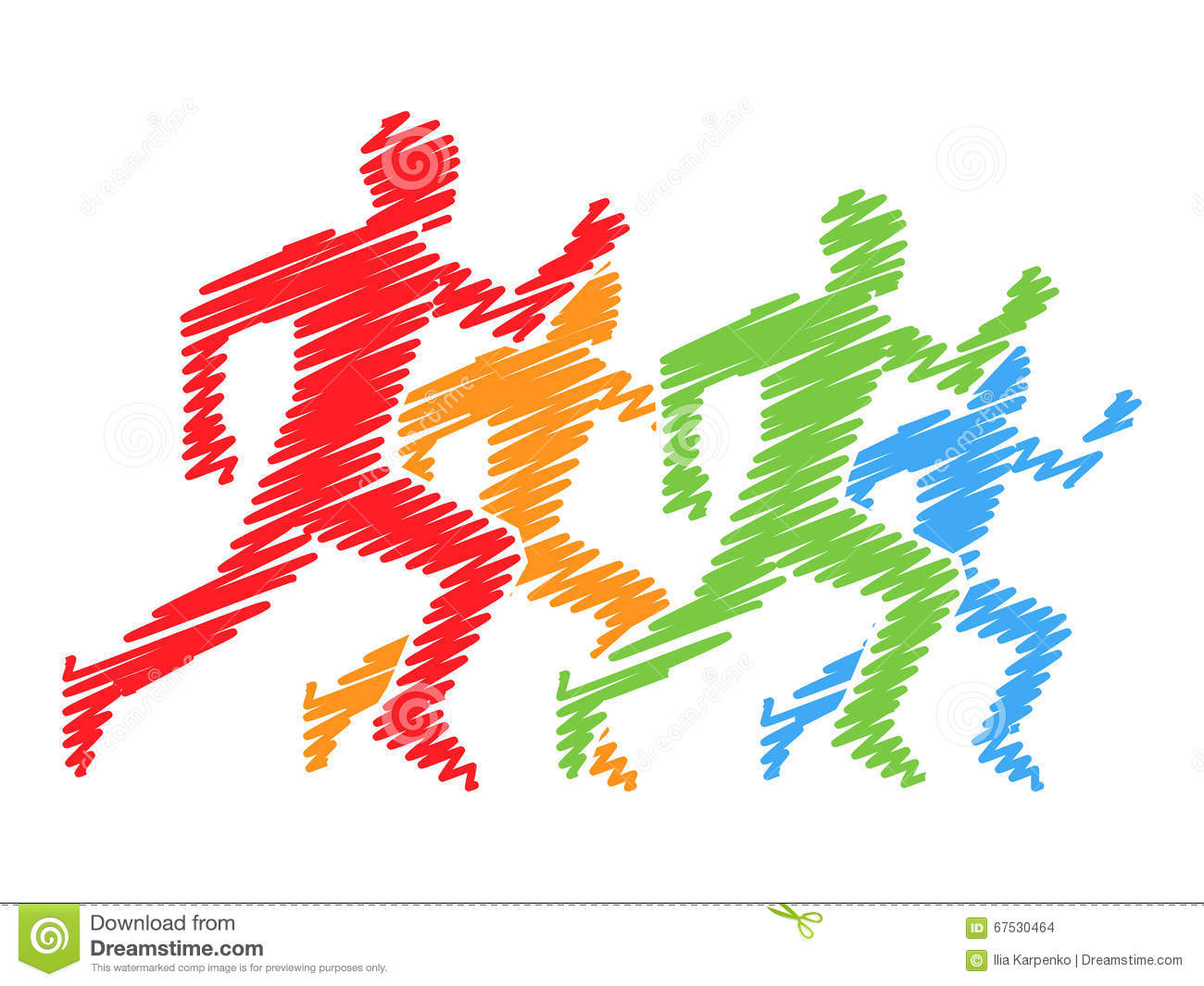 Colored Silhouettes Of Runners. Vector Running And Marathon Logo Stock ...