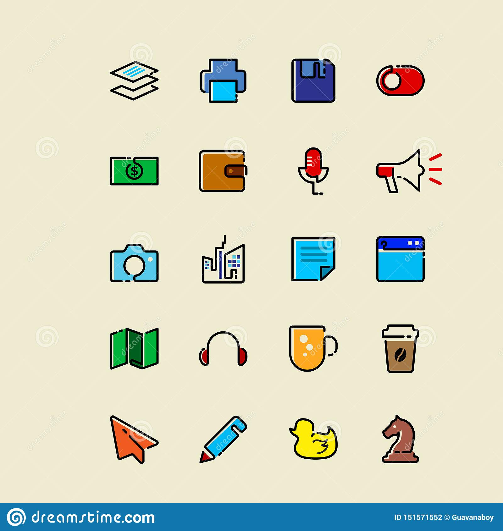 Colored Single line icons