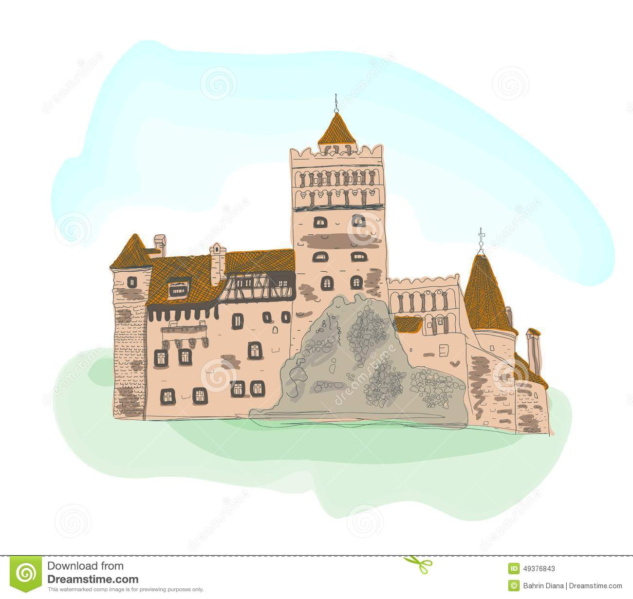 Colored Sketch Of Bran Castle Isolated On White Stock