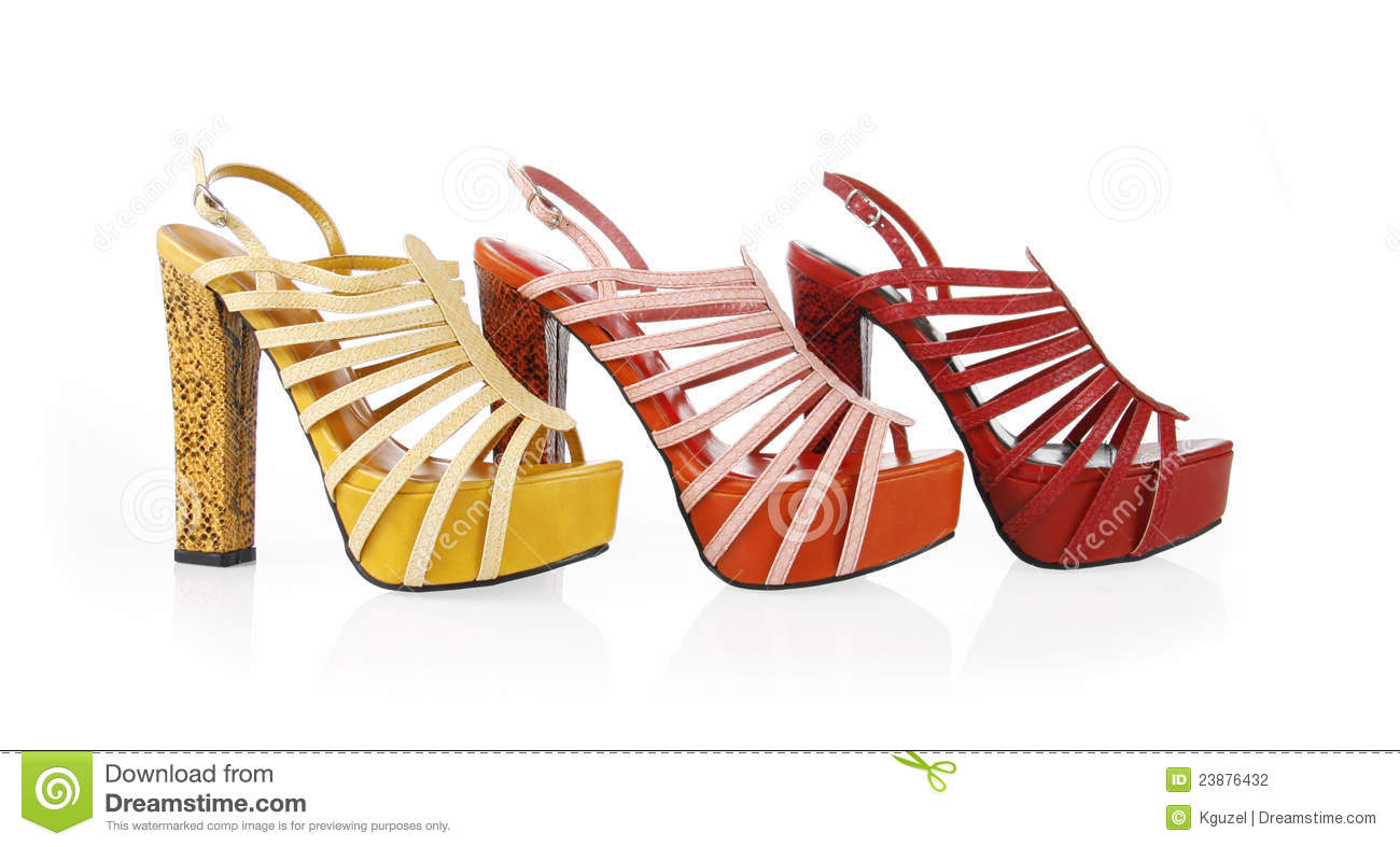 Colored snakeskin shoes collection