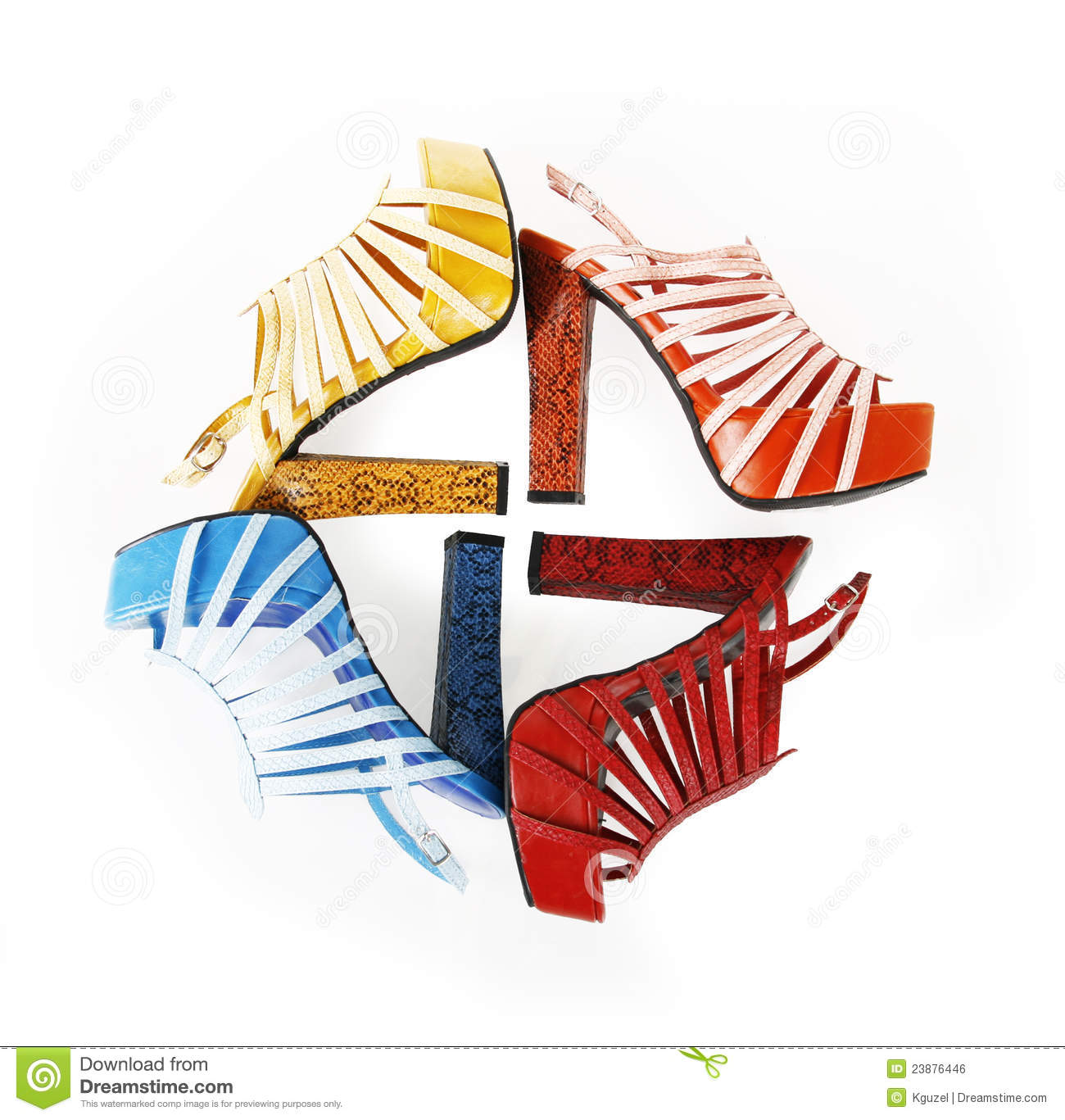 Colored snakeskin shoes in square composition