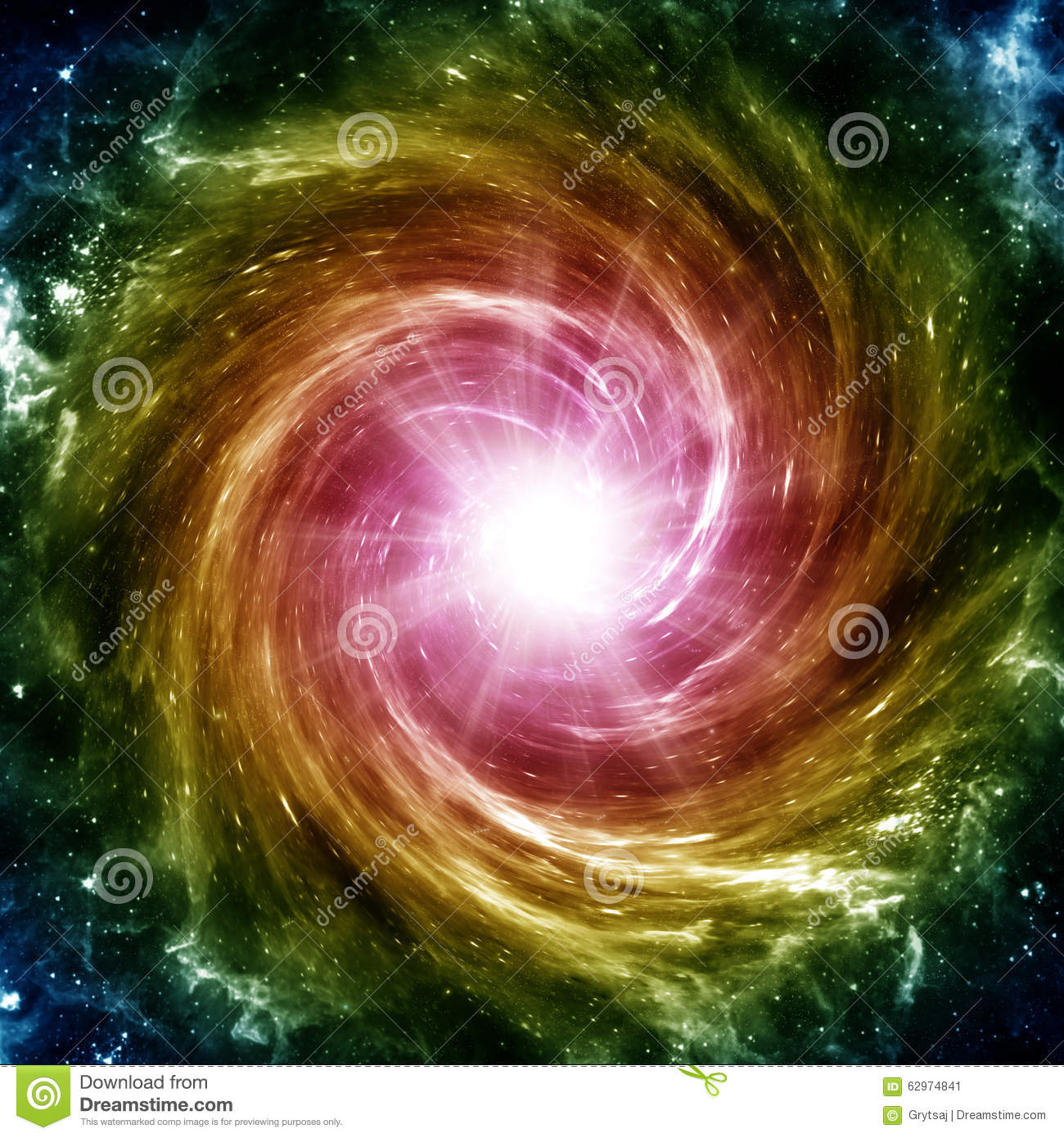 Colored spiral galaxy