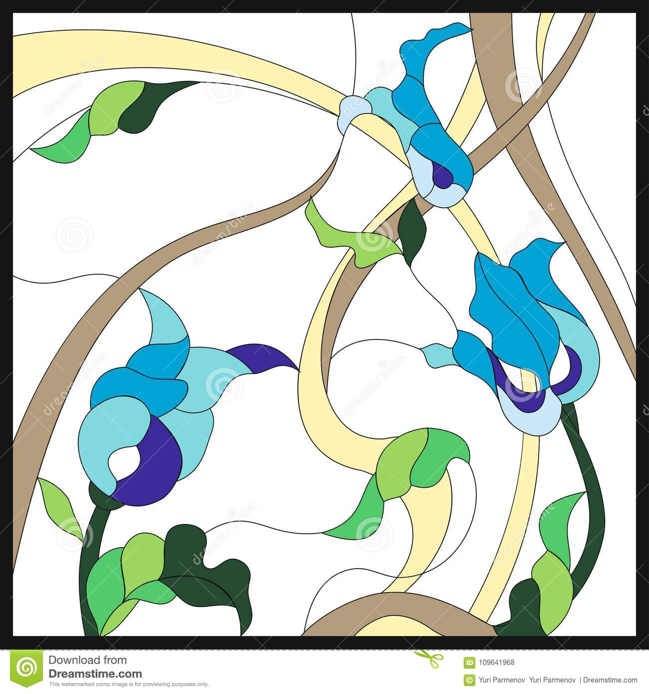 Stained Glass Style With Abstract Blue Flowers. Square Frame ...