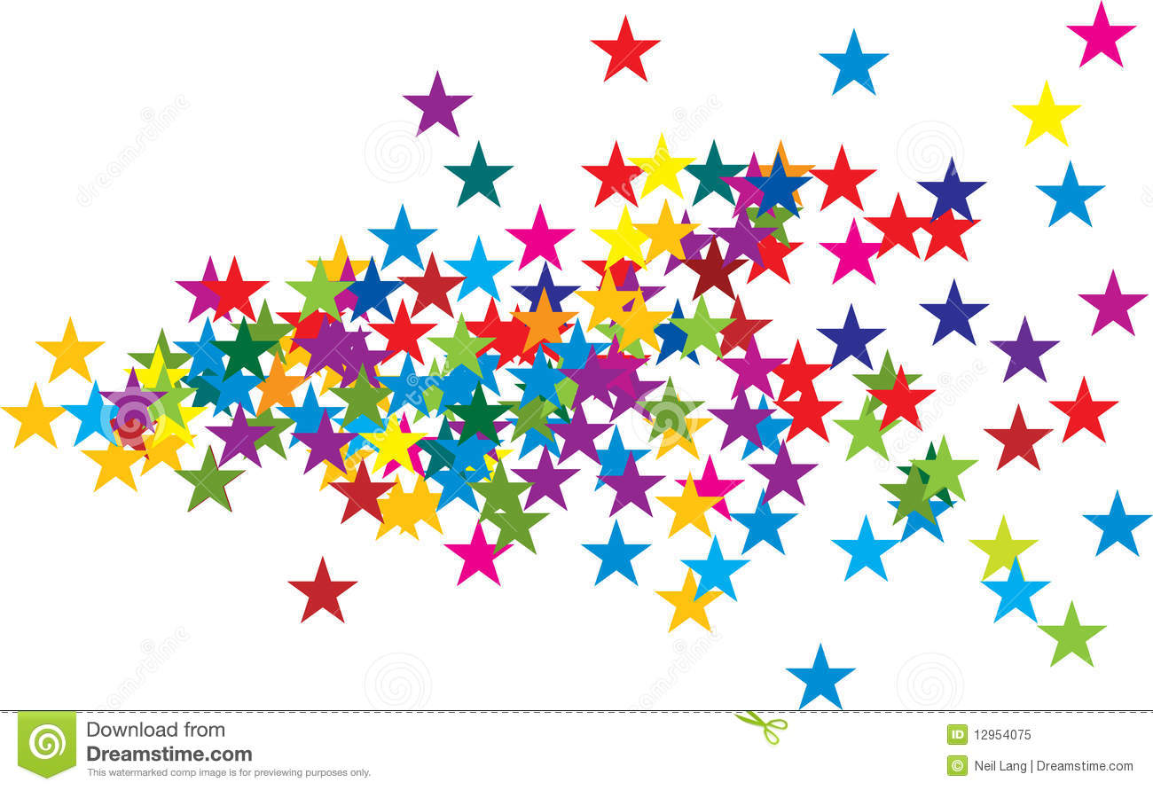 Editable colored star shapes spreading out from left side