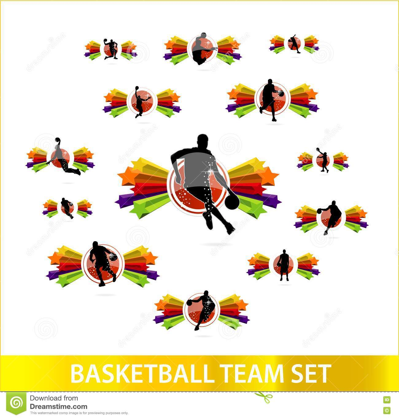colored stars of basketball team set royalty free stock