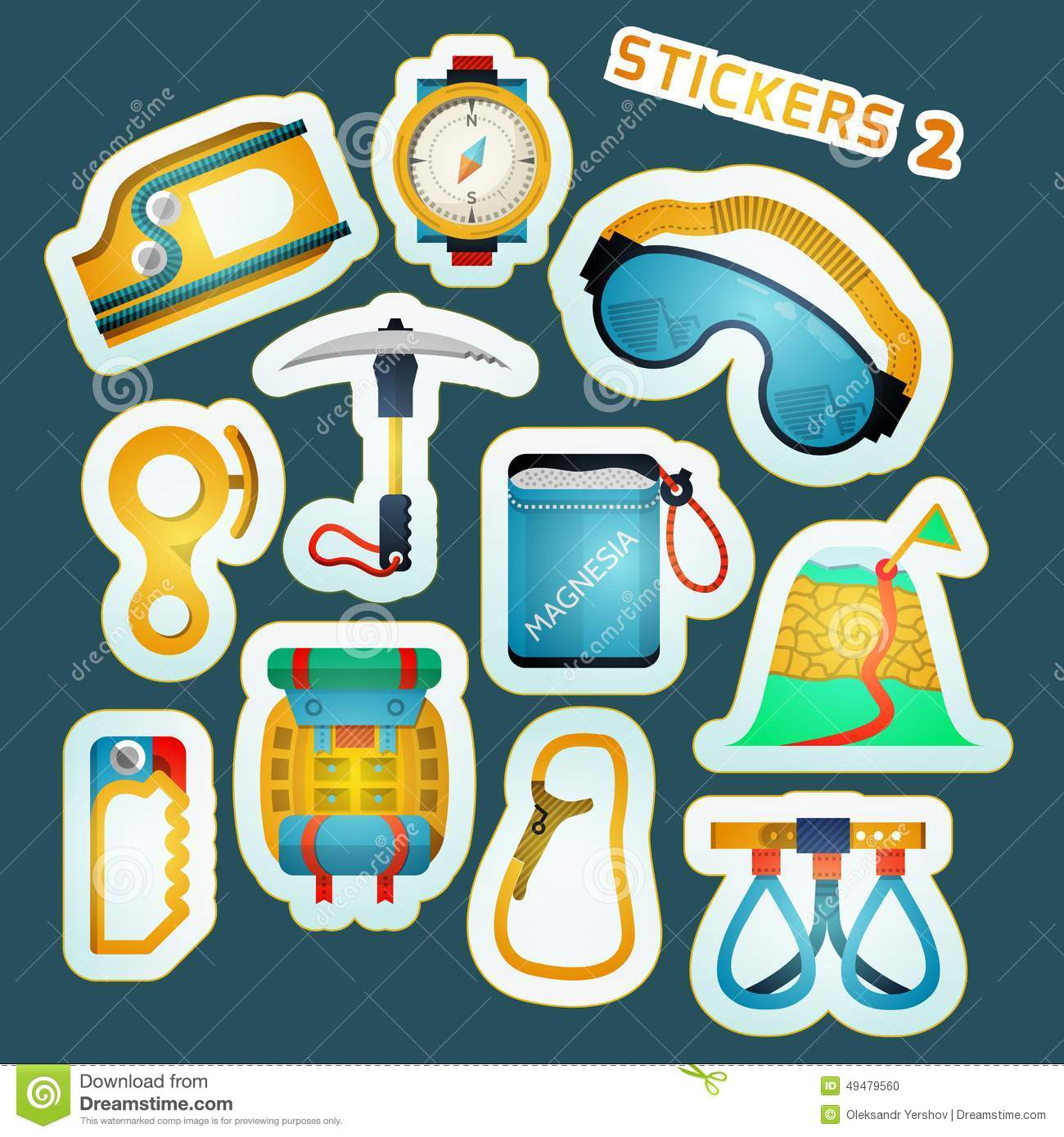 colored stickers for rock climbing stock illustration illustration