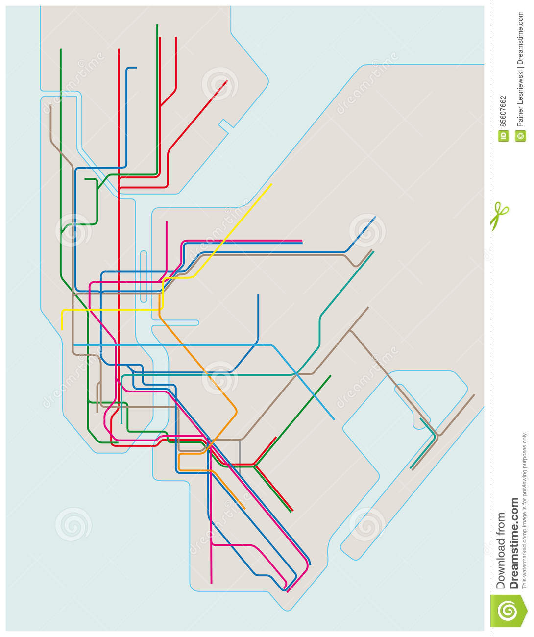 Download New York Subway Map.Colored Subway Map Of New York City Stock Vector Illustration Of