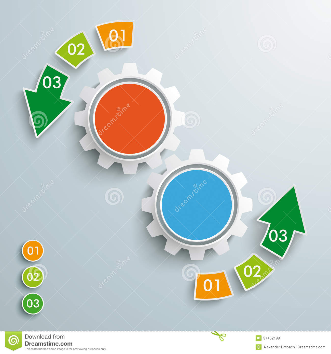 Infographic design on the grey background eps 10 vector file - Colored Success Arrow 6 Pieces 2 Gears Piad Royalty Free