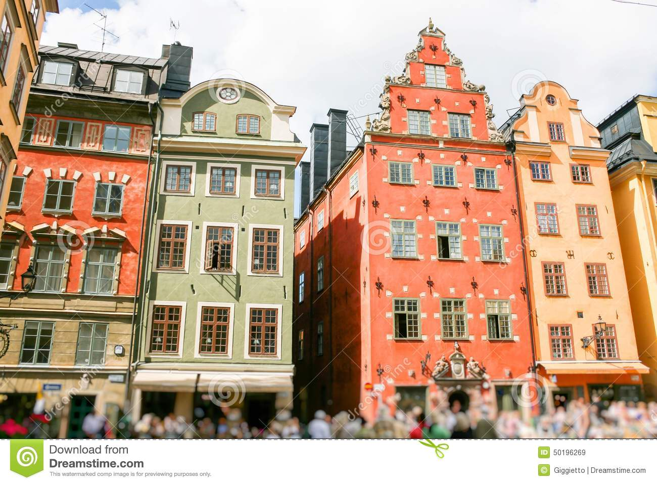colored swedish homes stock photo - image: 50196269