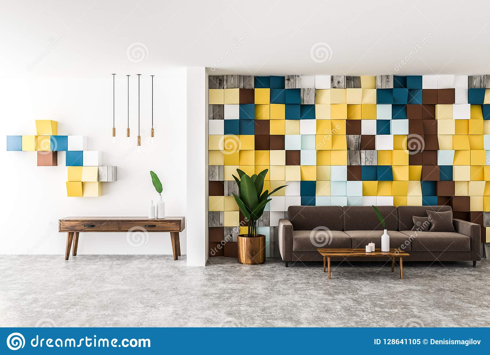 Colored Tiles Living Room Sofa And Cabinet Stock Illustration Illustration Of Empty Curtain 128641105