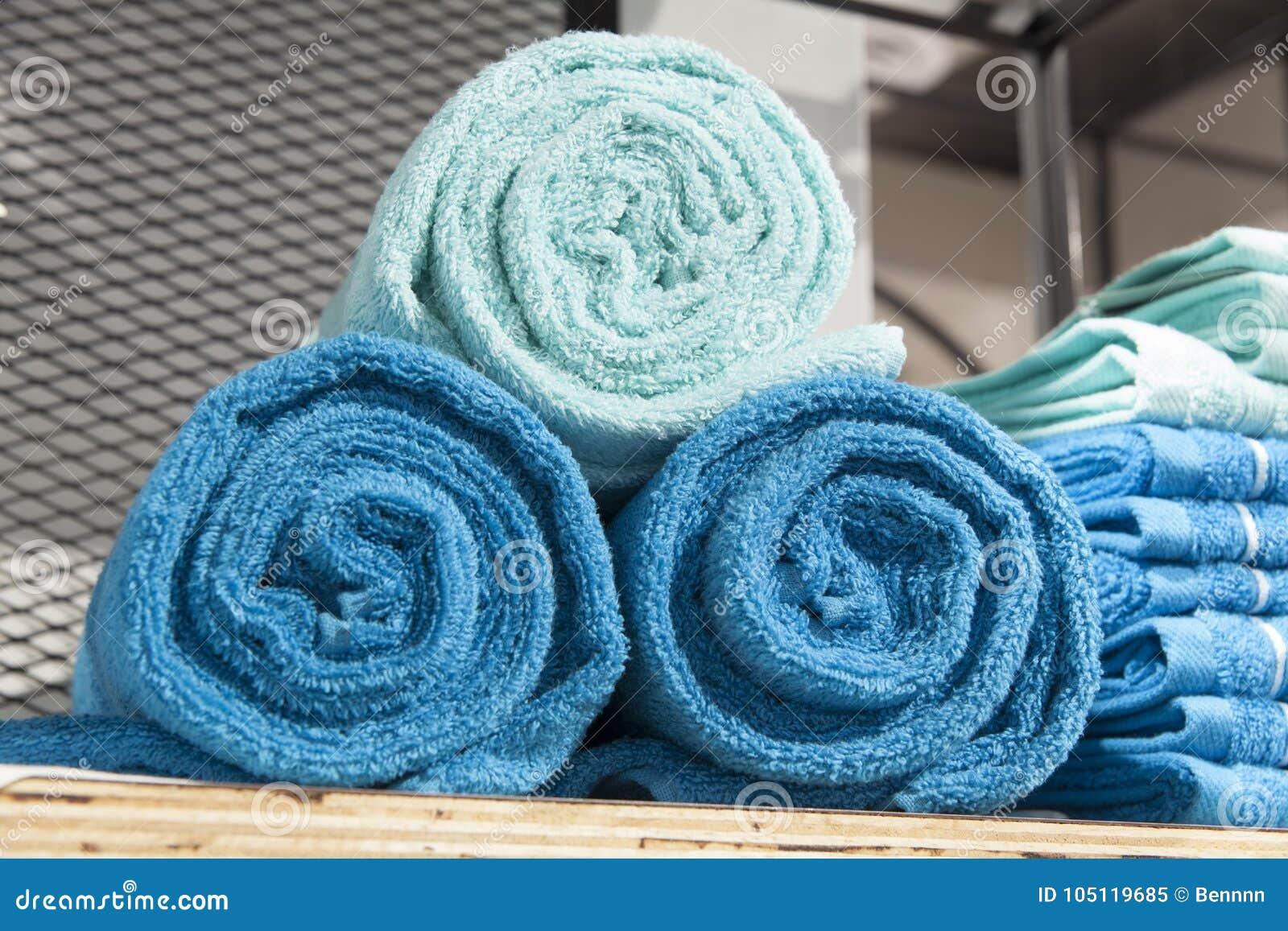Pile of towel on shelf stock image. Image of piled, market - 105119685