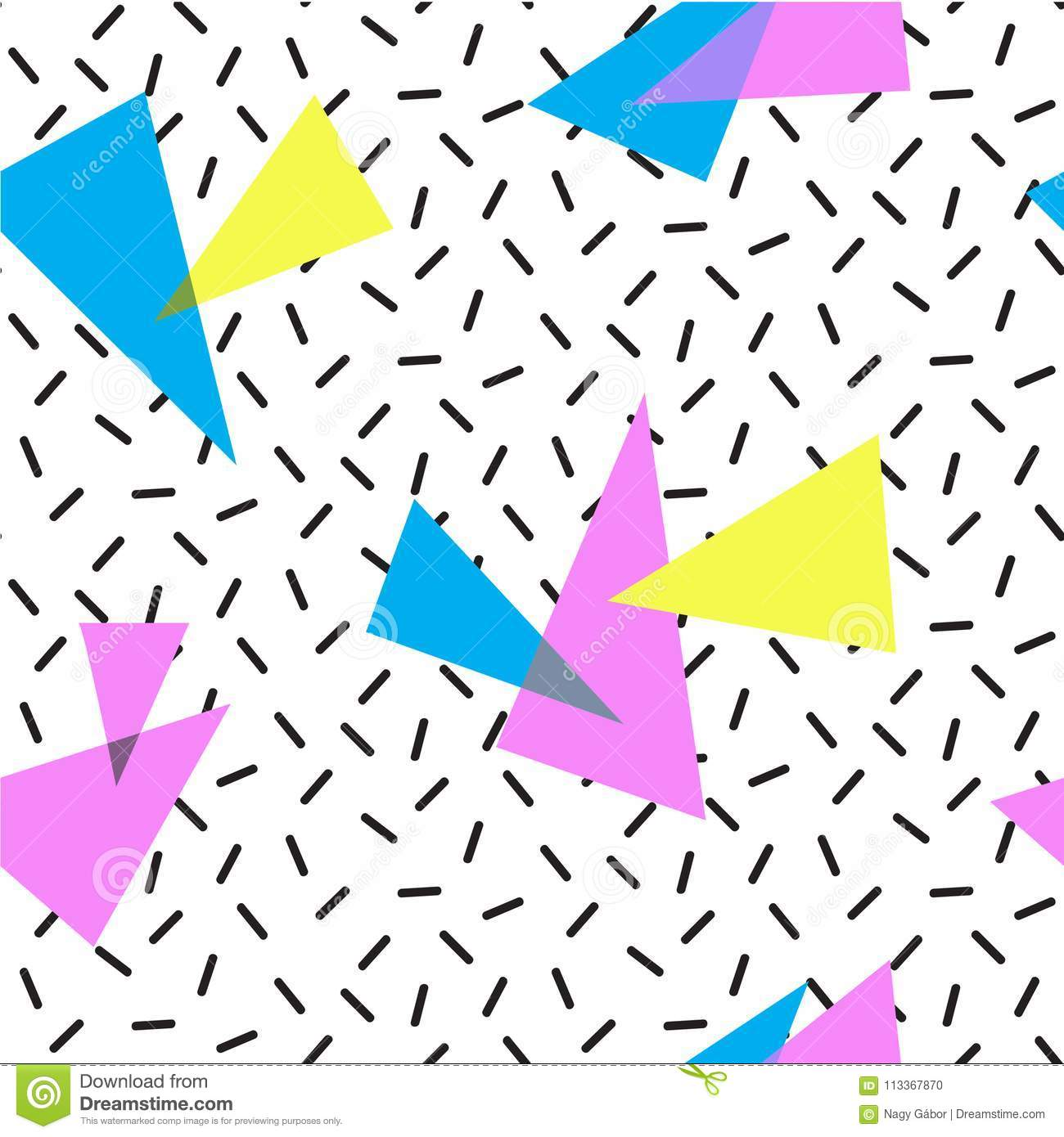 COLORED TRIANGLE MEMPHIS STYLE SEAMLESS PATTERN  GEOMETRIC