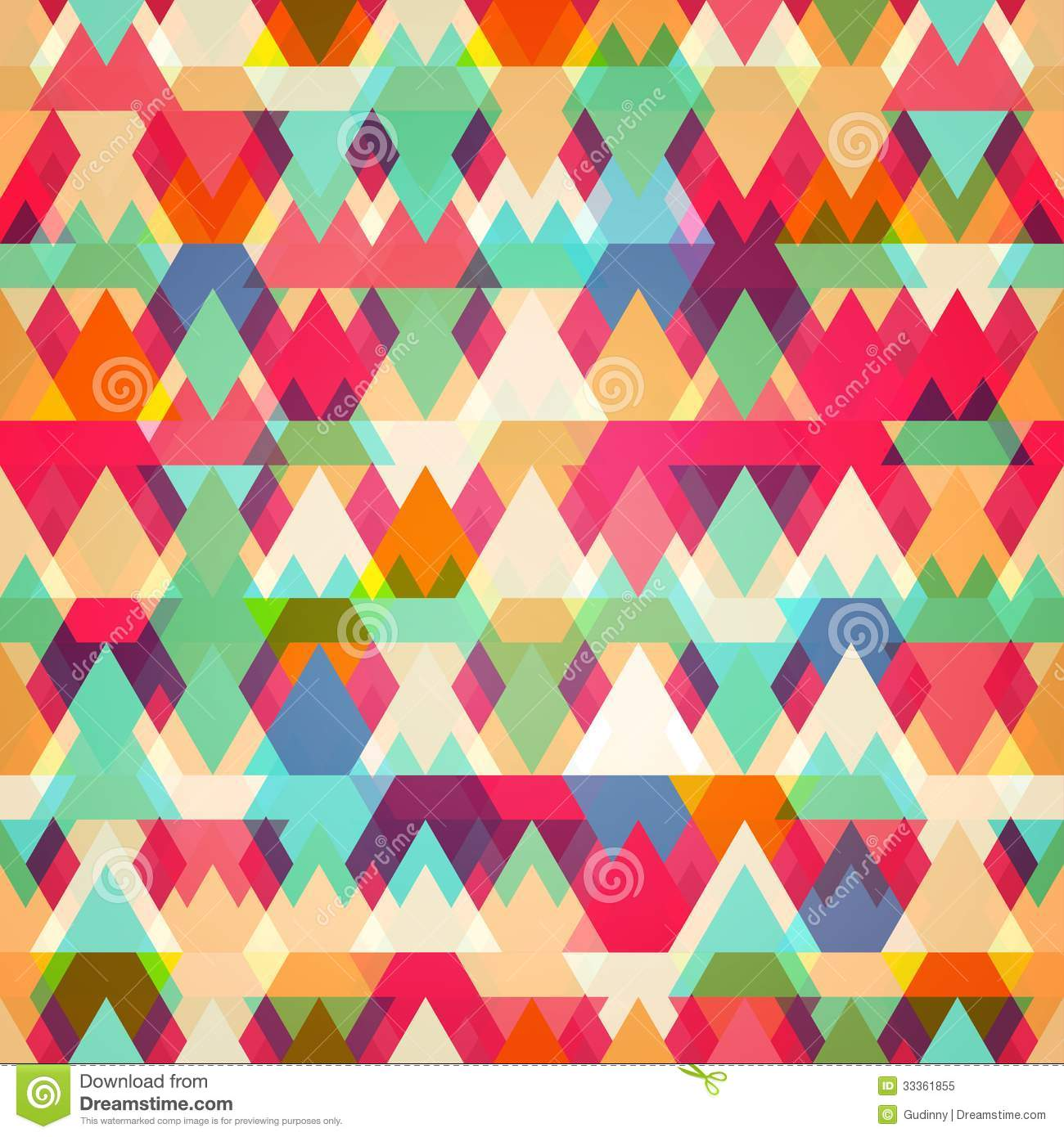 colored triangle seamless pattern stock vector