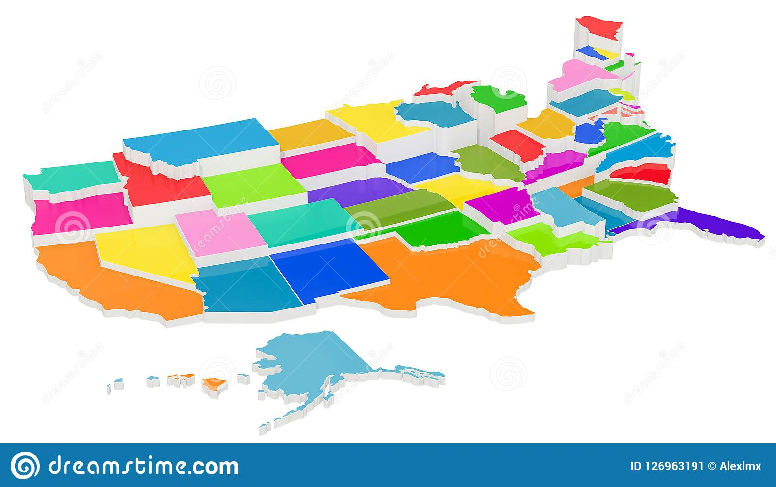 Colored United States Of America Map With State Borders 3d Rend