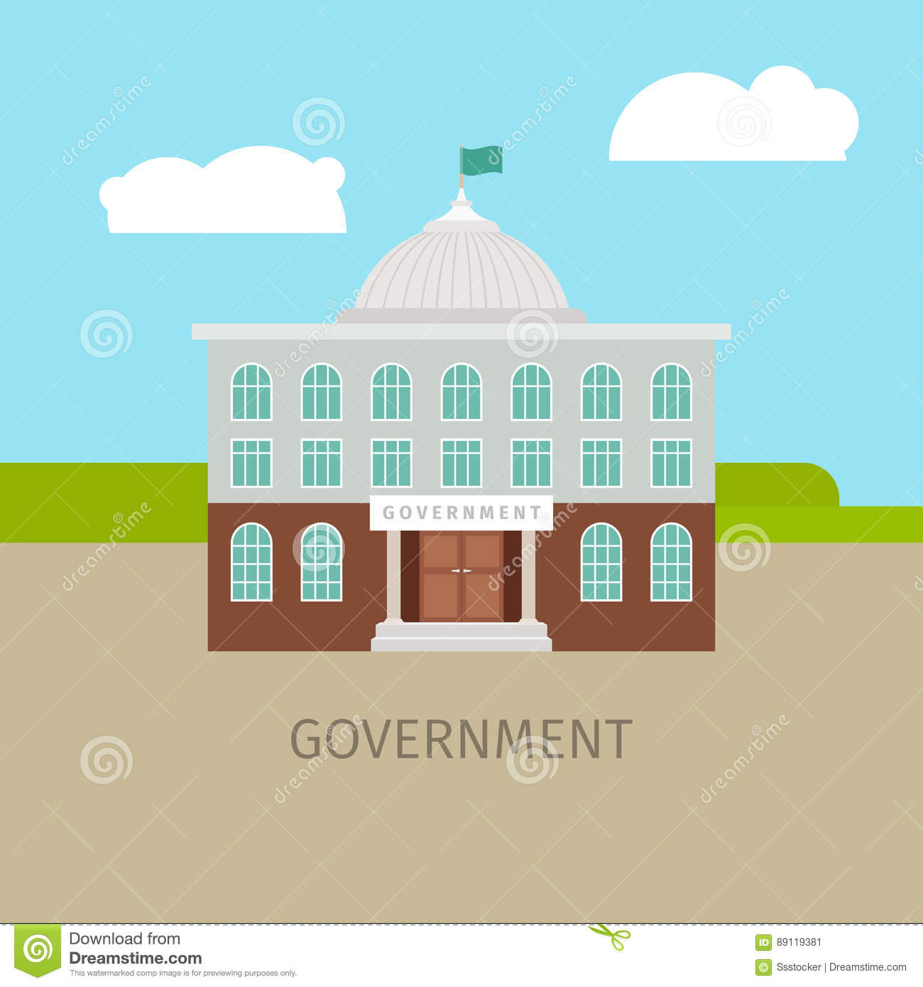 Colored urban government building