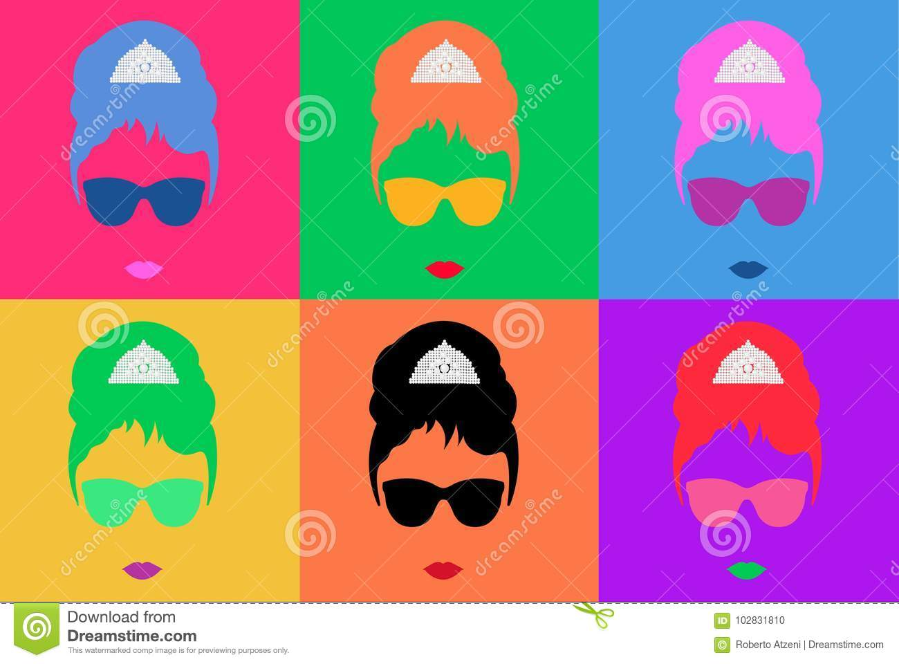 Colored Vector Illustration Pop Art Style Andy Warhol