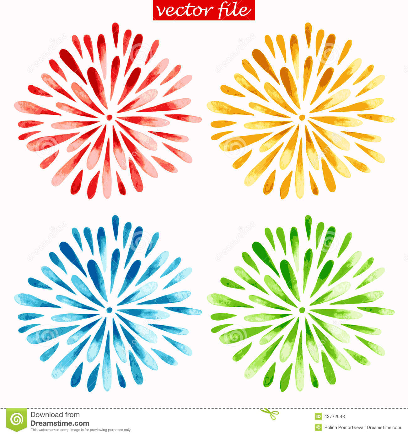 Colored Watercolor Sunburst Flowers Stock Vector - Image: 43772043