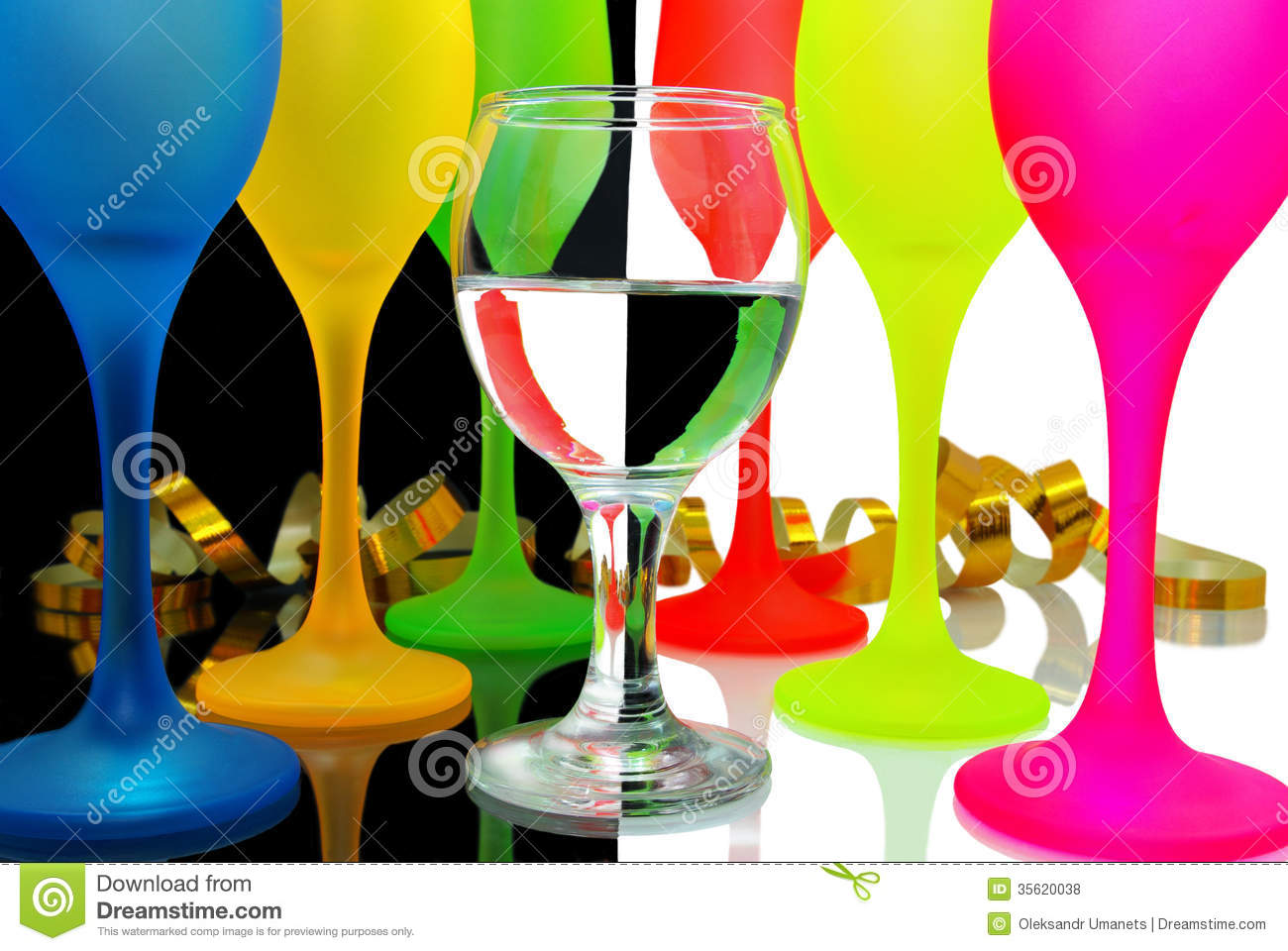 Colored Wine Glasses On A Black And White Backgrou Royalty