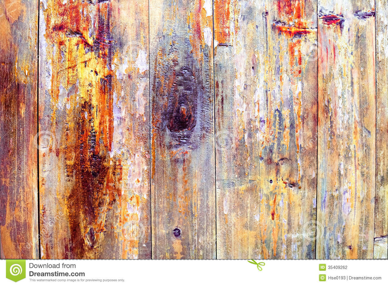 Colored Wood Peeling Paint Stock Photography Image 35409262