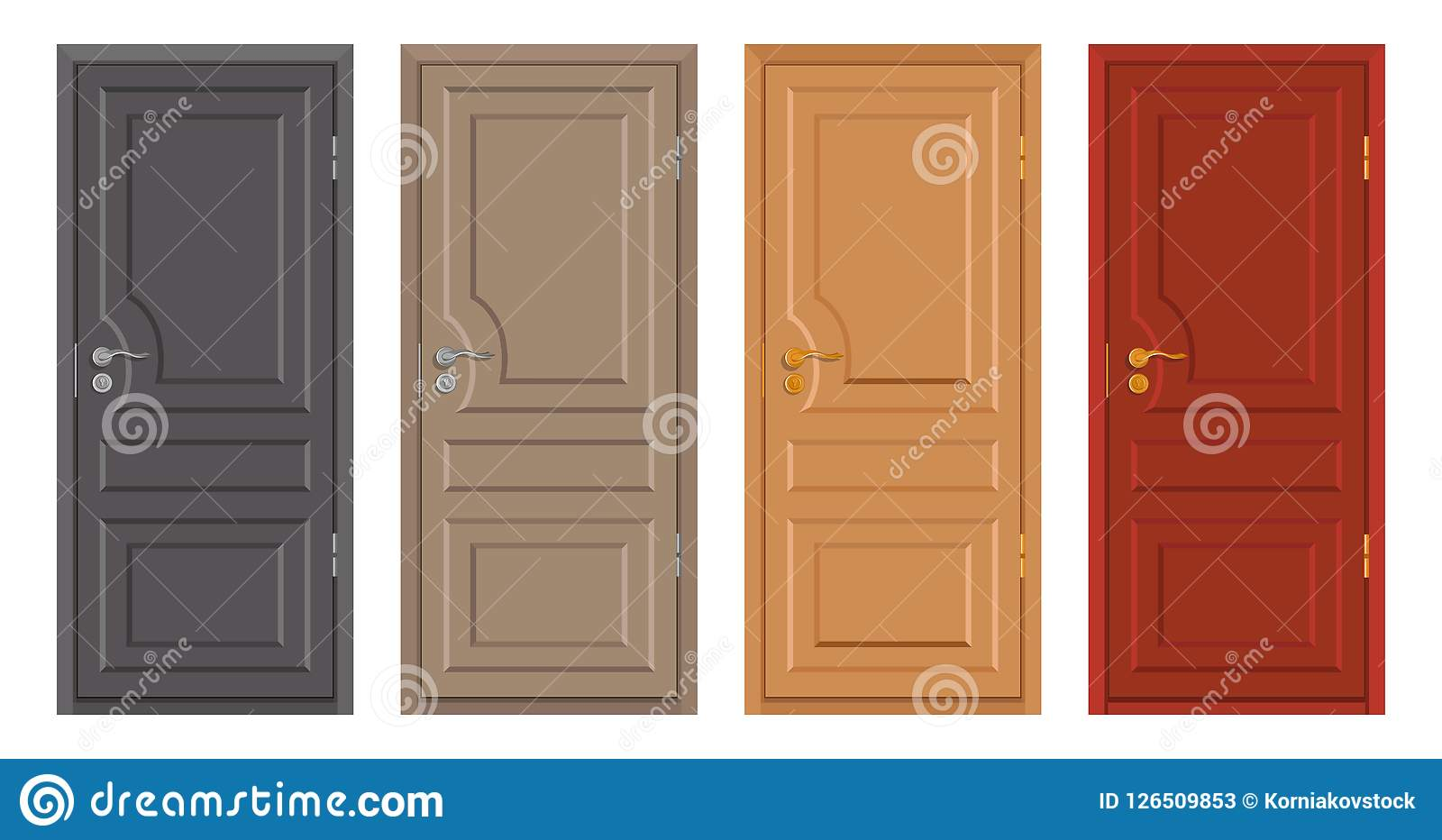Colored Wooden Doors Isolated On White Background, Realistic Wooden Door,  Colour Illustration Of Different Door Design, Office Interior Or Exterior  Element, ...