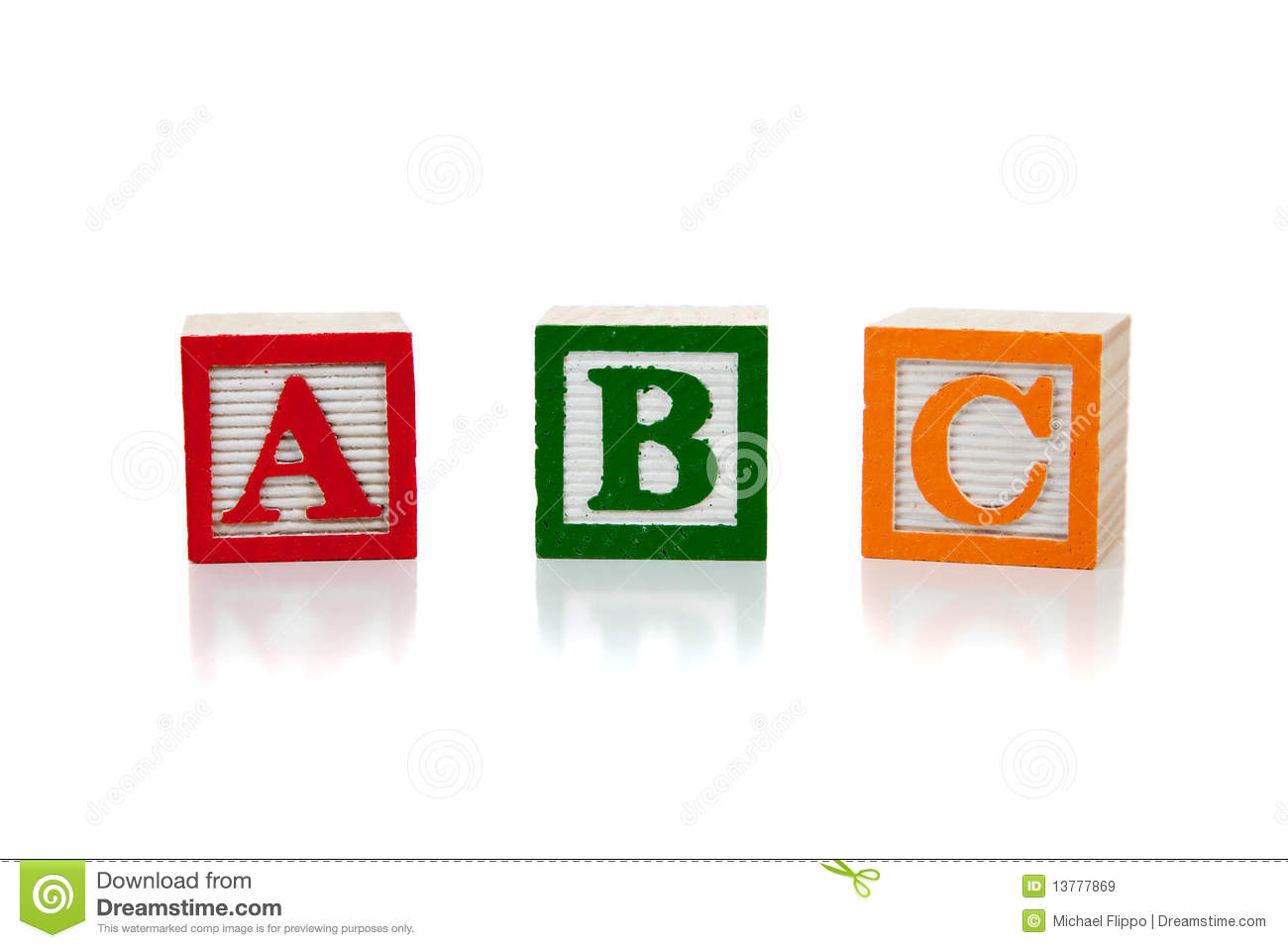 colored wooden letter blocks on a white background stock image