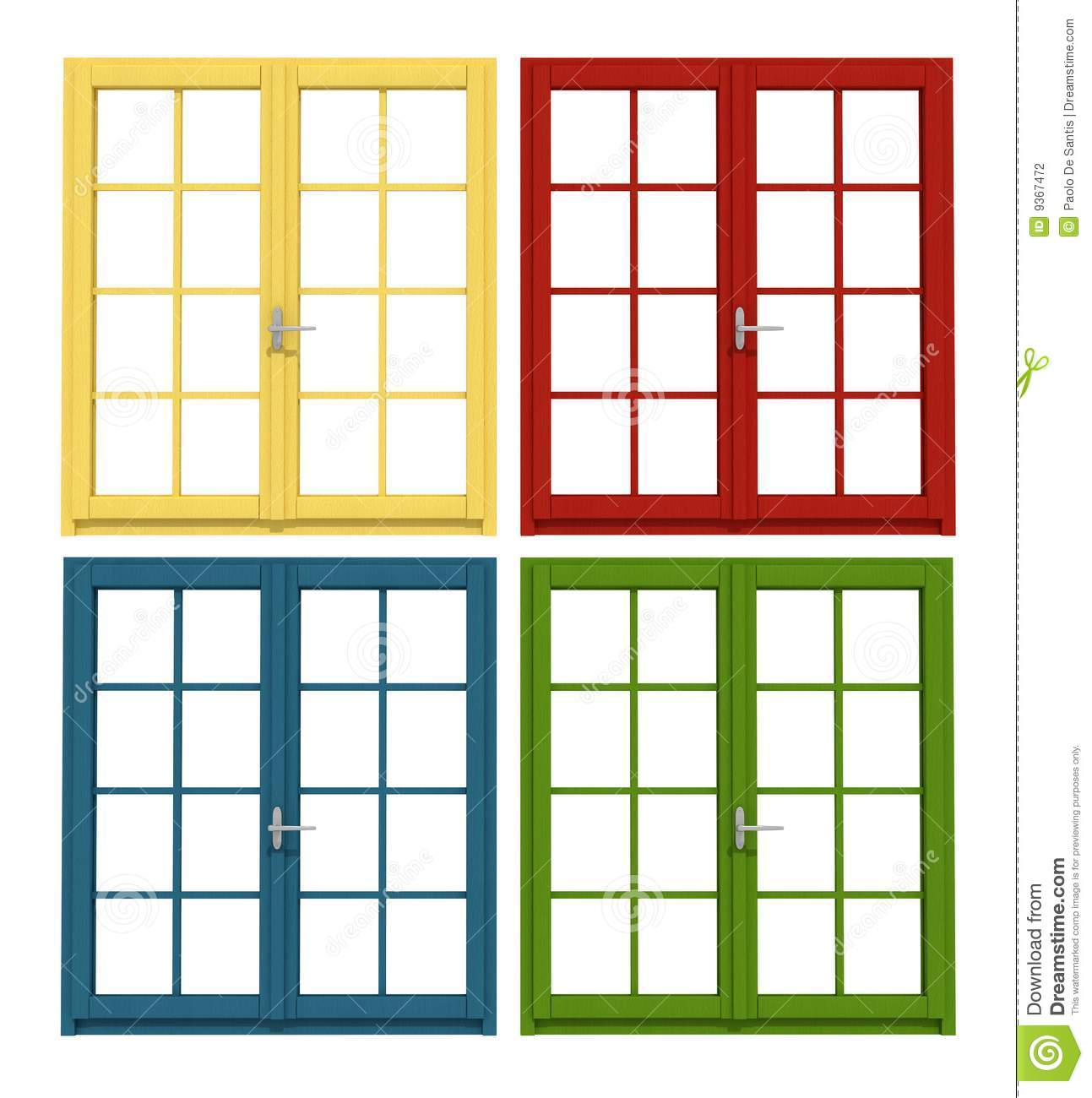 Four colored windows isolated on white-rendering.