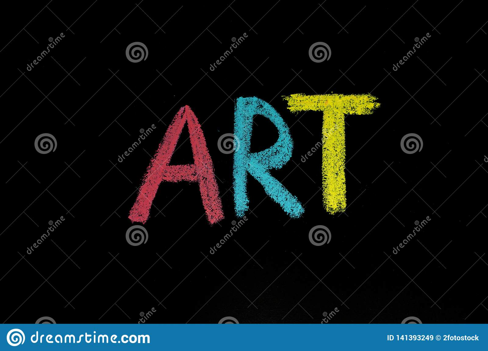 Colored Word Art On Blackboard Stock Illustration
