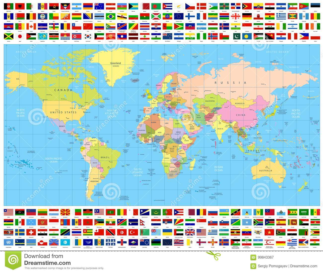Colored World Map And All World Flags Collection Stock Vector