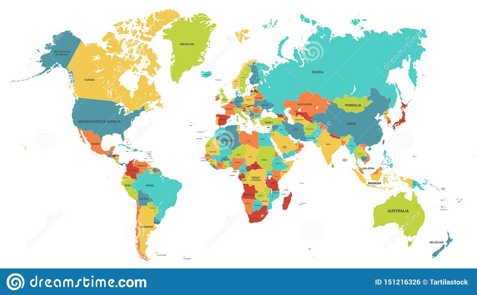 Colored World Map. Political Maps, Colourful World Countries ...