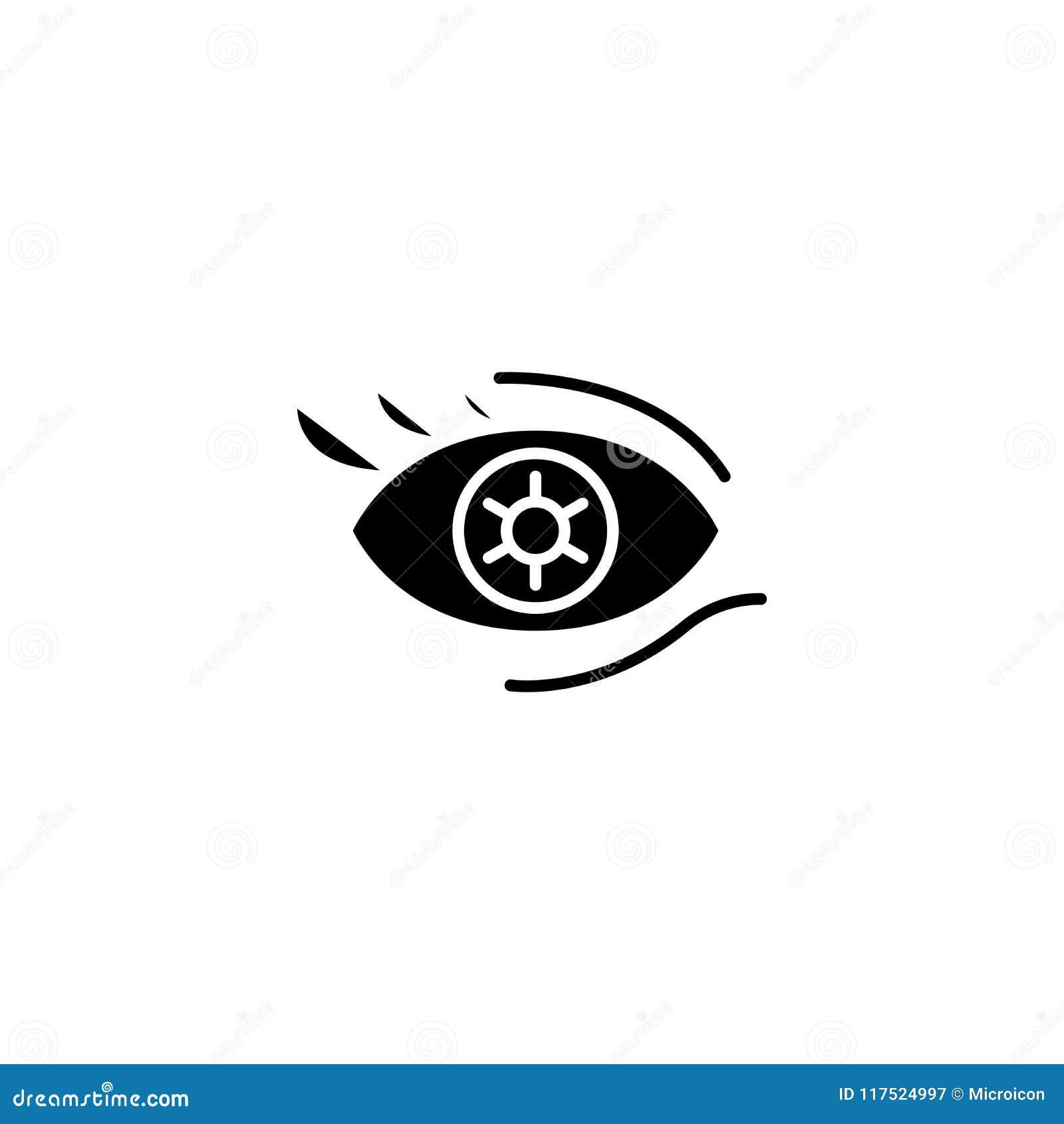 Coloree el concepto negro del icono de las lentes de contacto Coloree el símbolo plano del vector de las lentes de contacto, mues