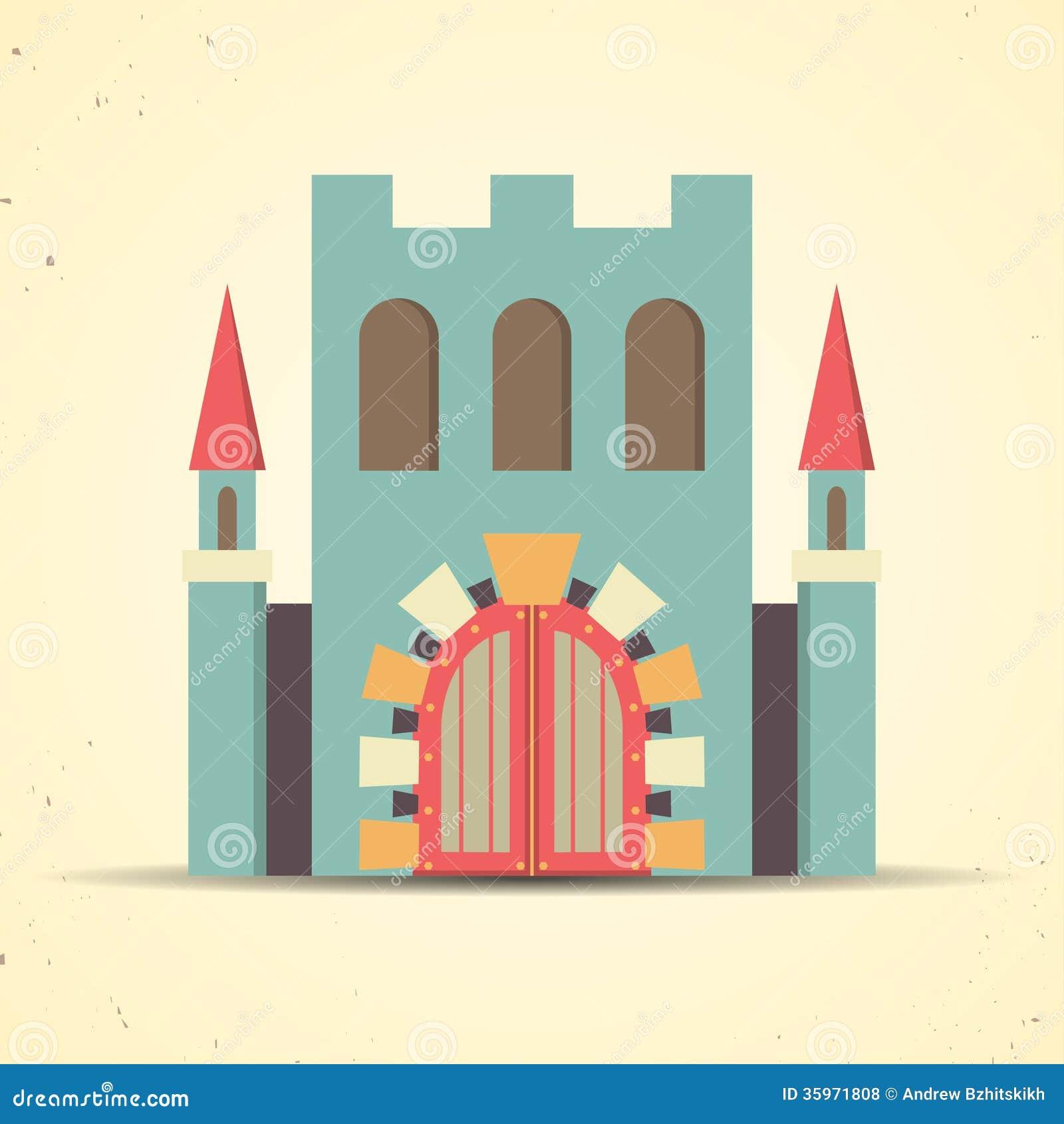 Coloree el icono plano del castillo para el web y el móvil