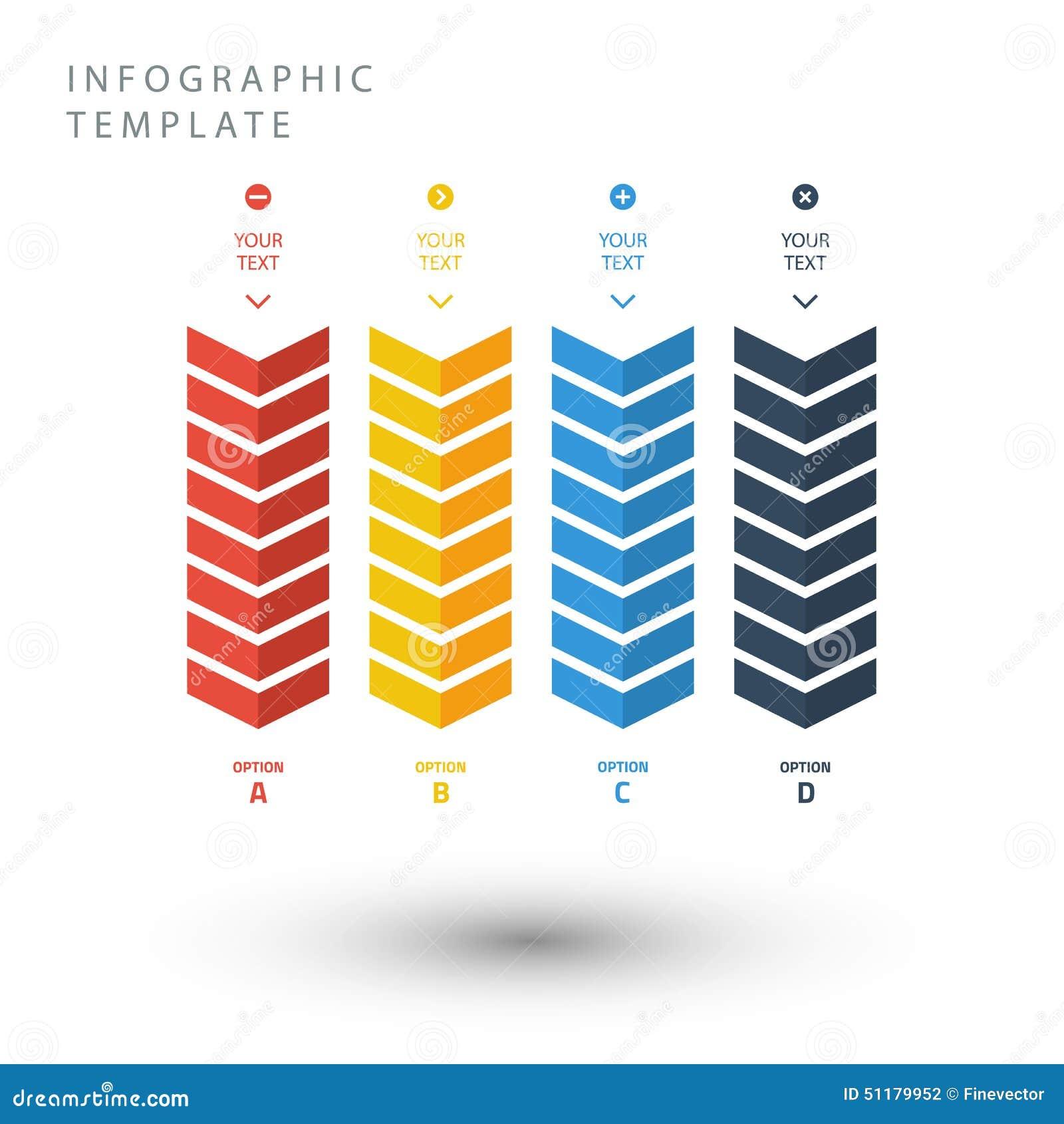 Coloree la plantilla gráfica de la información del zigzag en colores planos