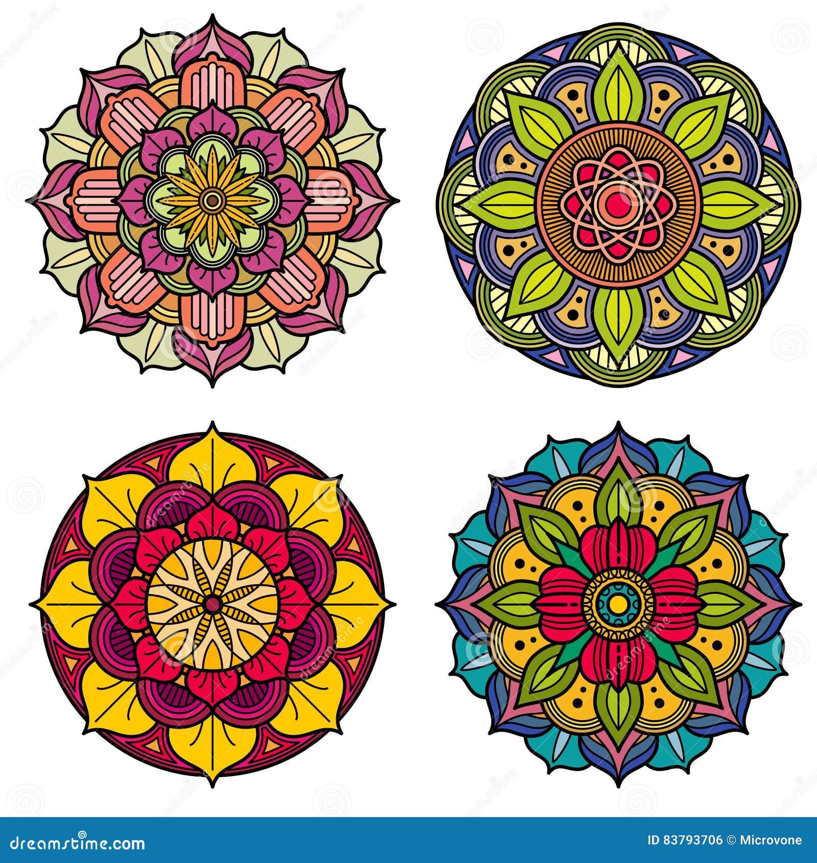 Sistema De Mandalas Florales Del Color Ejemplo Del Vector - Mandalas-indios