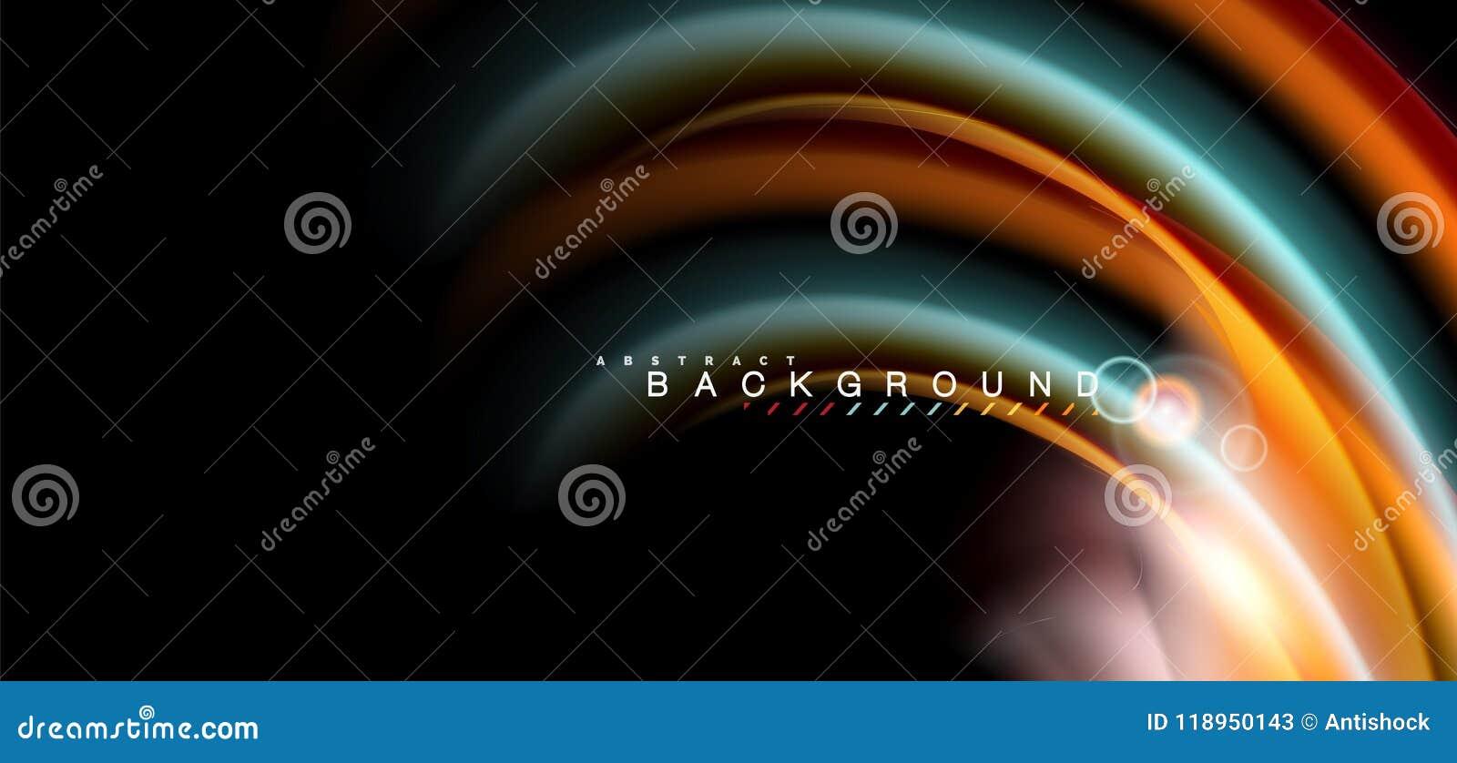 Coloree los efectos luminosos brillantes sobre forma ondulada multicolora del estilo negro, líquido