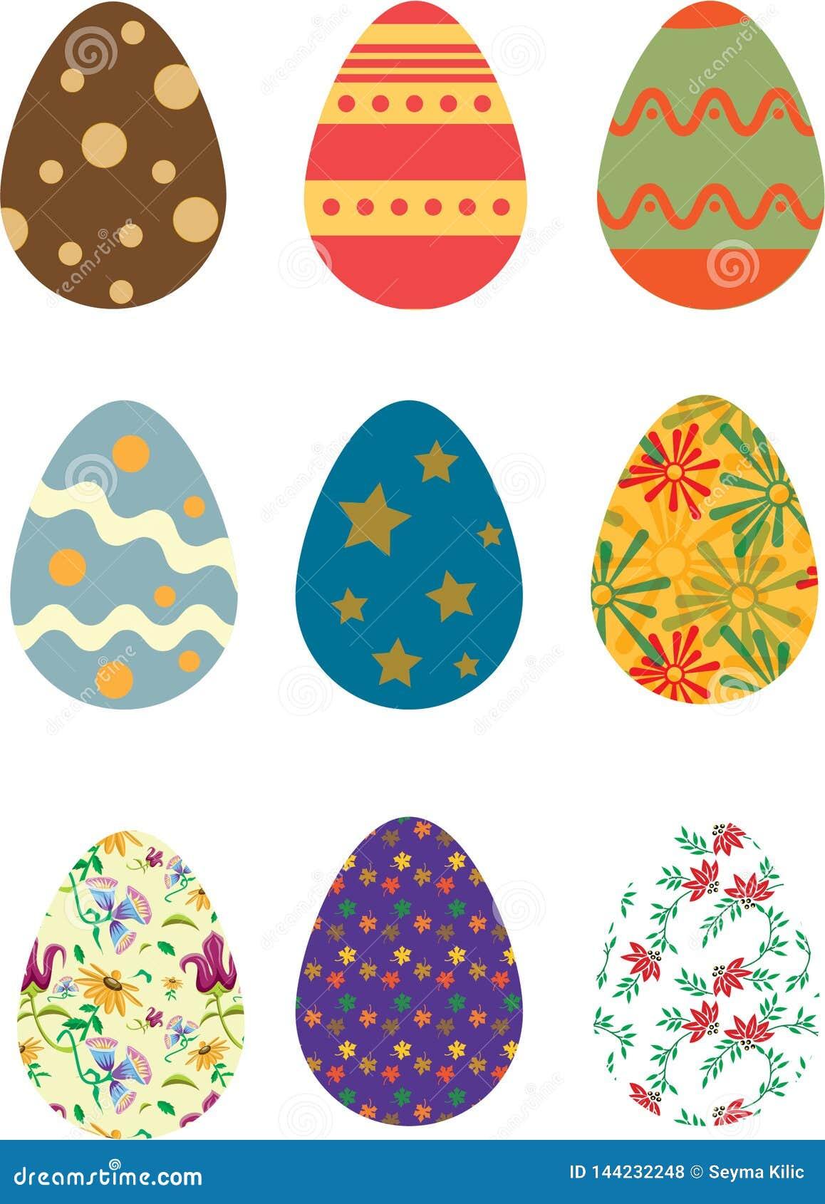 Colores coloridos del vintage de los huevos de Pascua