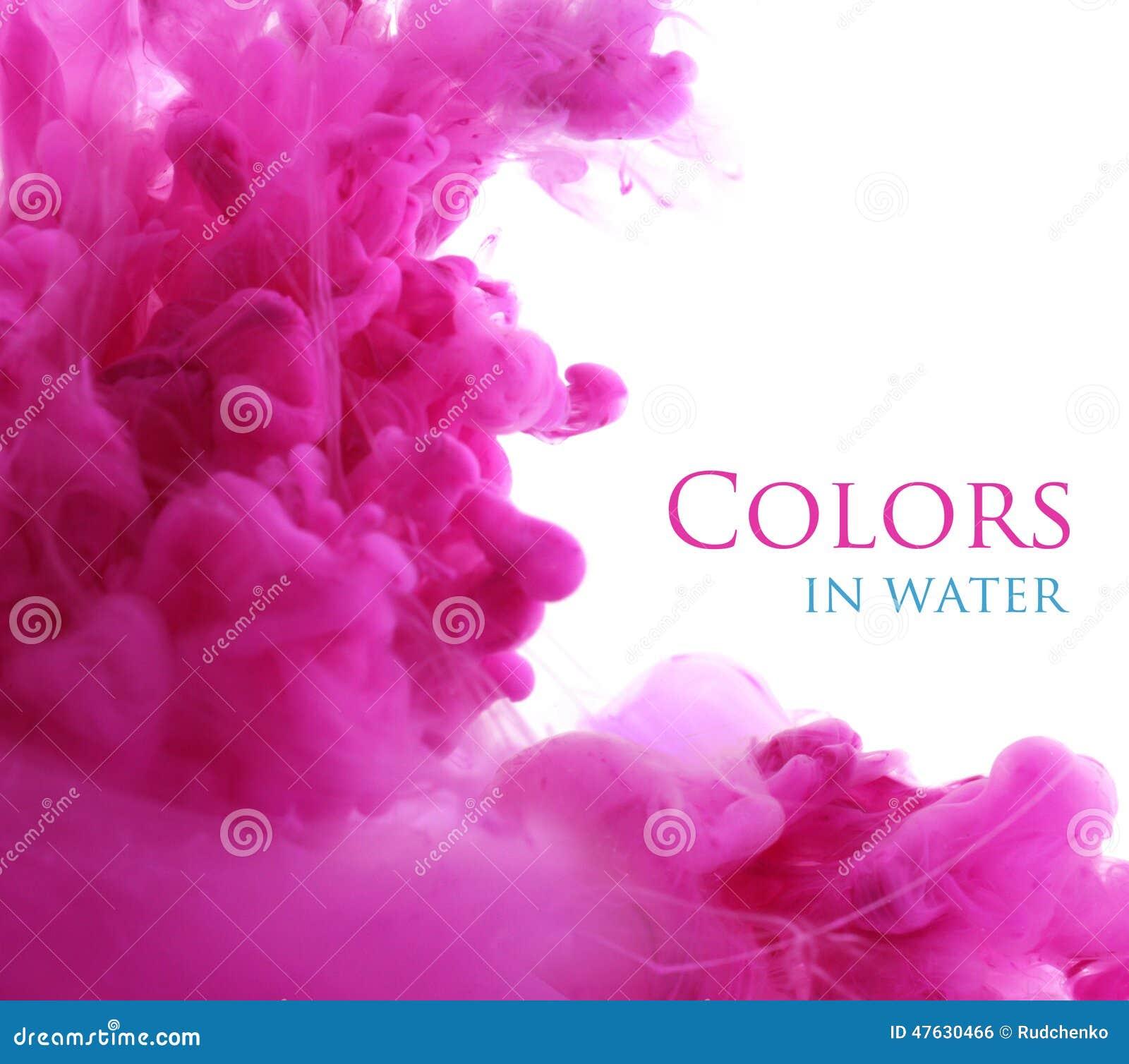 Colores de acrílico en el agua, fondo abstracto