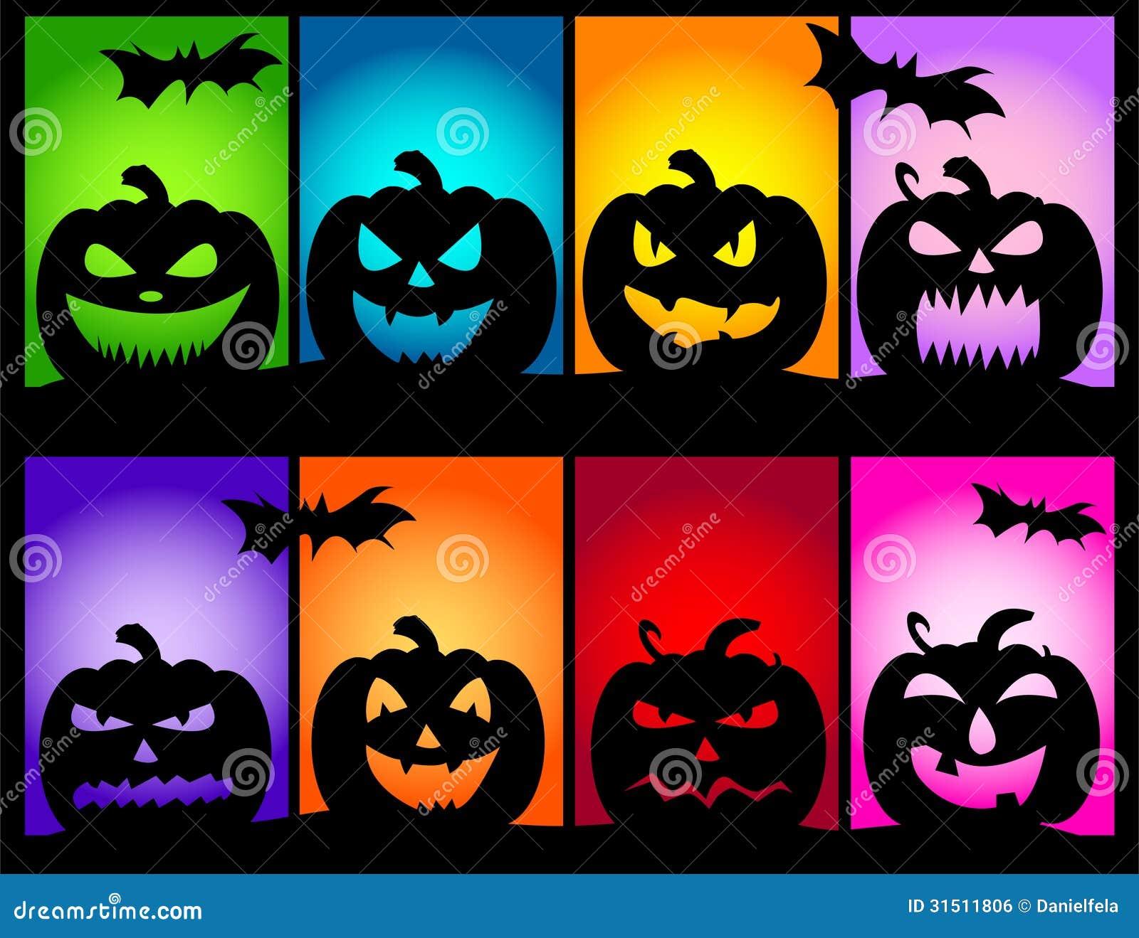 Colores de las calabazas de halloween ilustraci n del - Disenos de calabazas de halloween ...