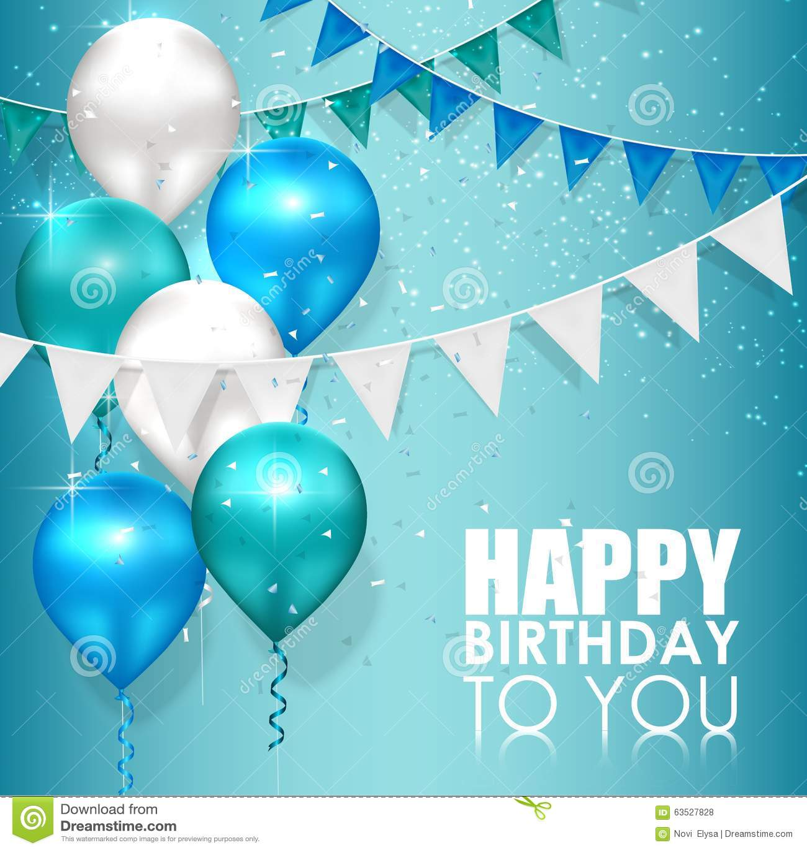 Colores Del Feliz Cumpleaños En Fondo Del Agua Azul Ilustración del ...