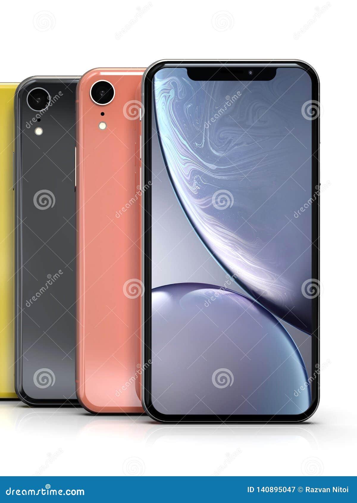 Colores del iPhone XR de Apple, posición vertical, alineada