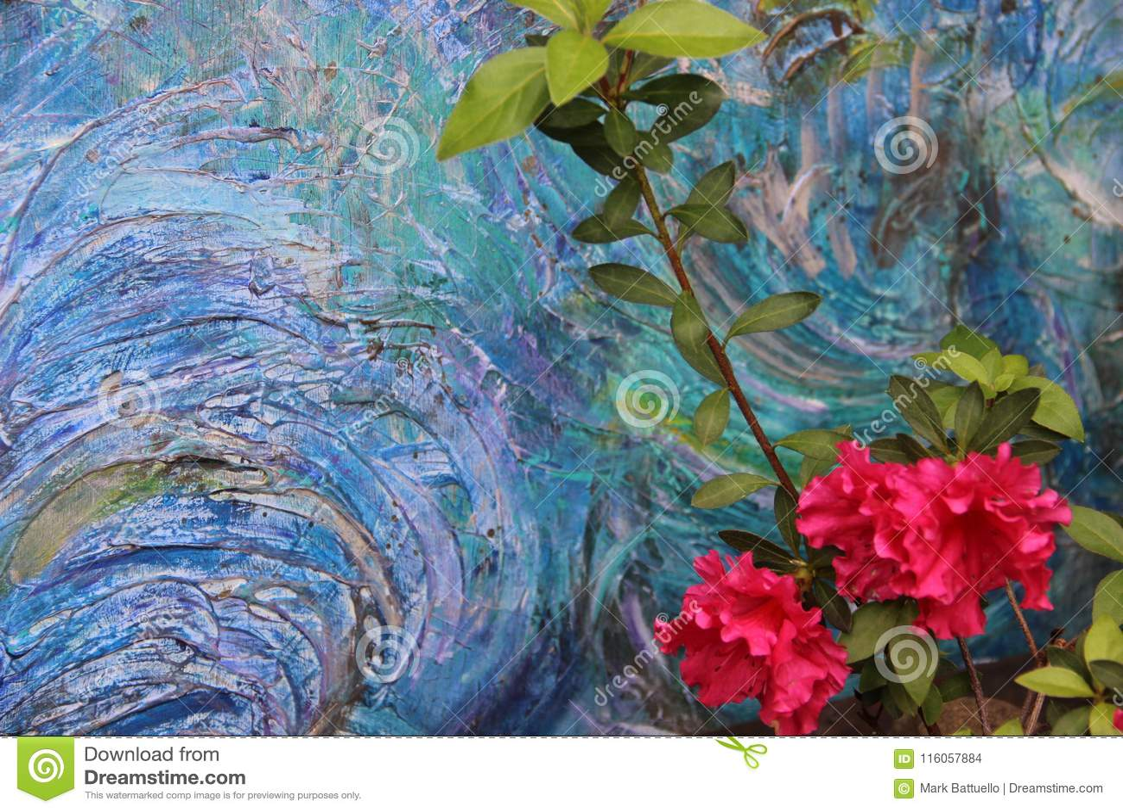 Colores oceánicos de la pintura de acrílico abstracta con mi Azalea In The Foreground