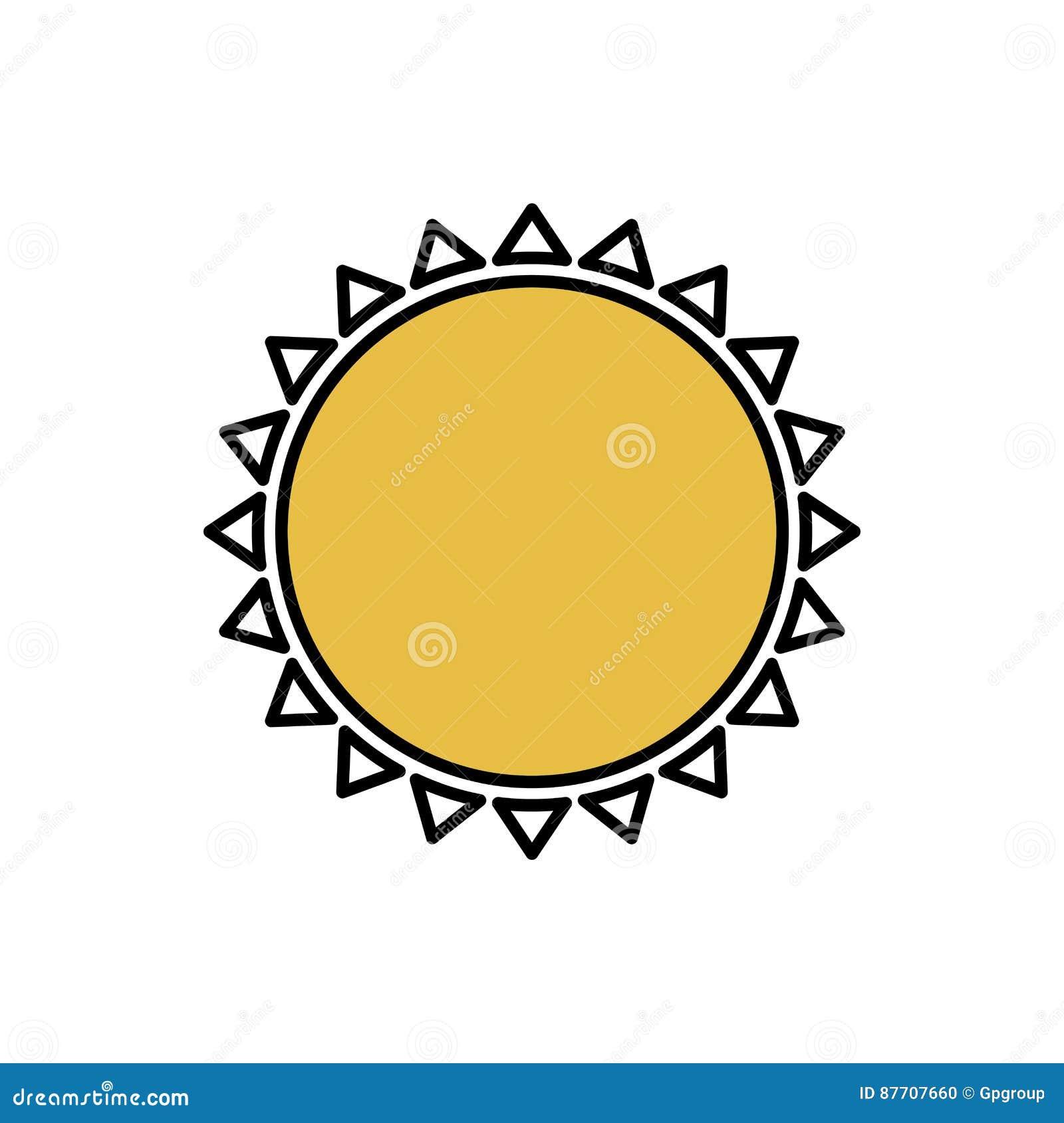 Colorez la belle icône d abrégé sur le soleil