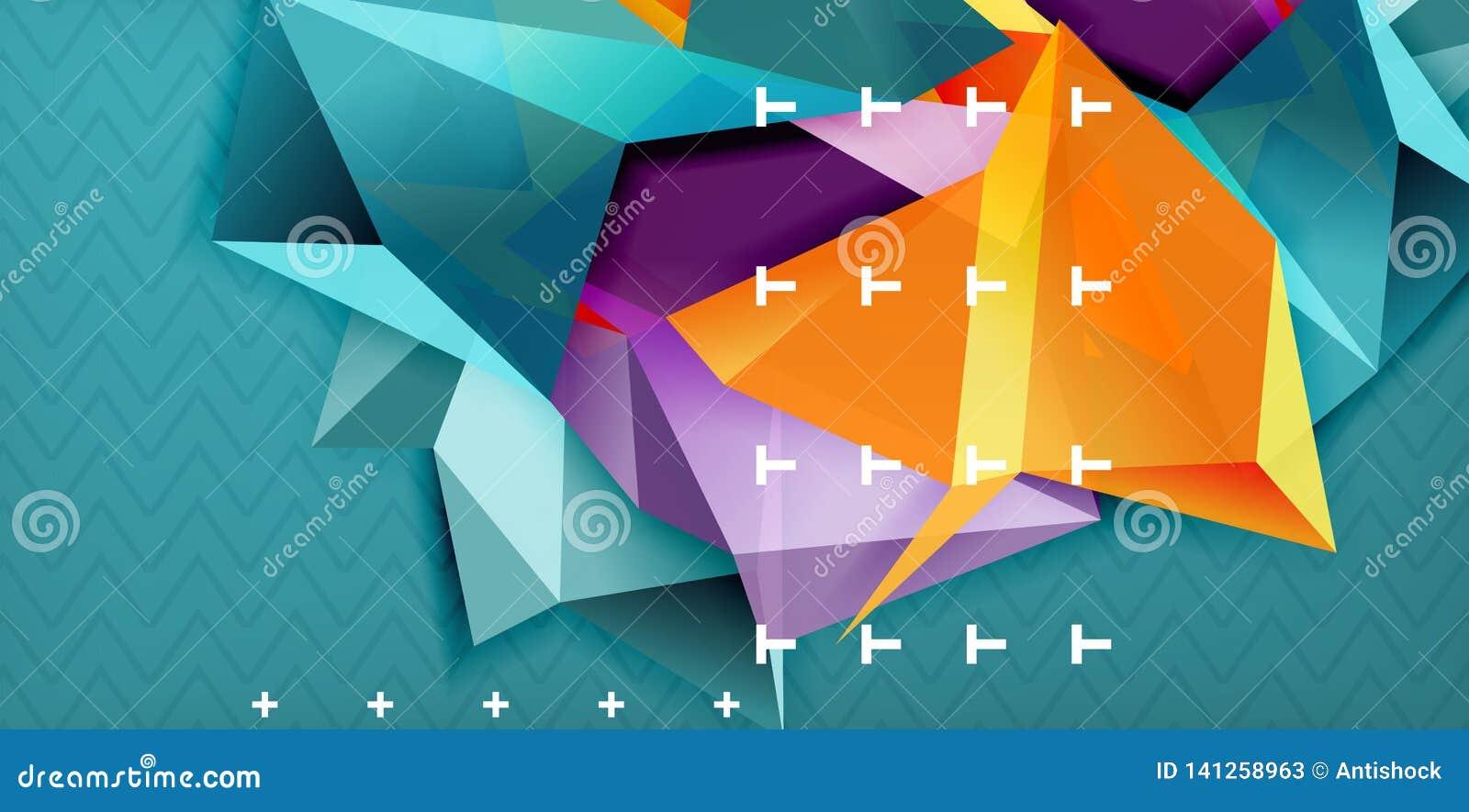 Colorez le fond abstrait géométrique, conception minimale d abstraction avec la forme du style 3d de mosaïque