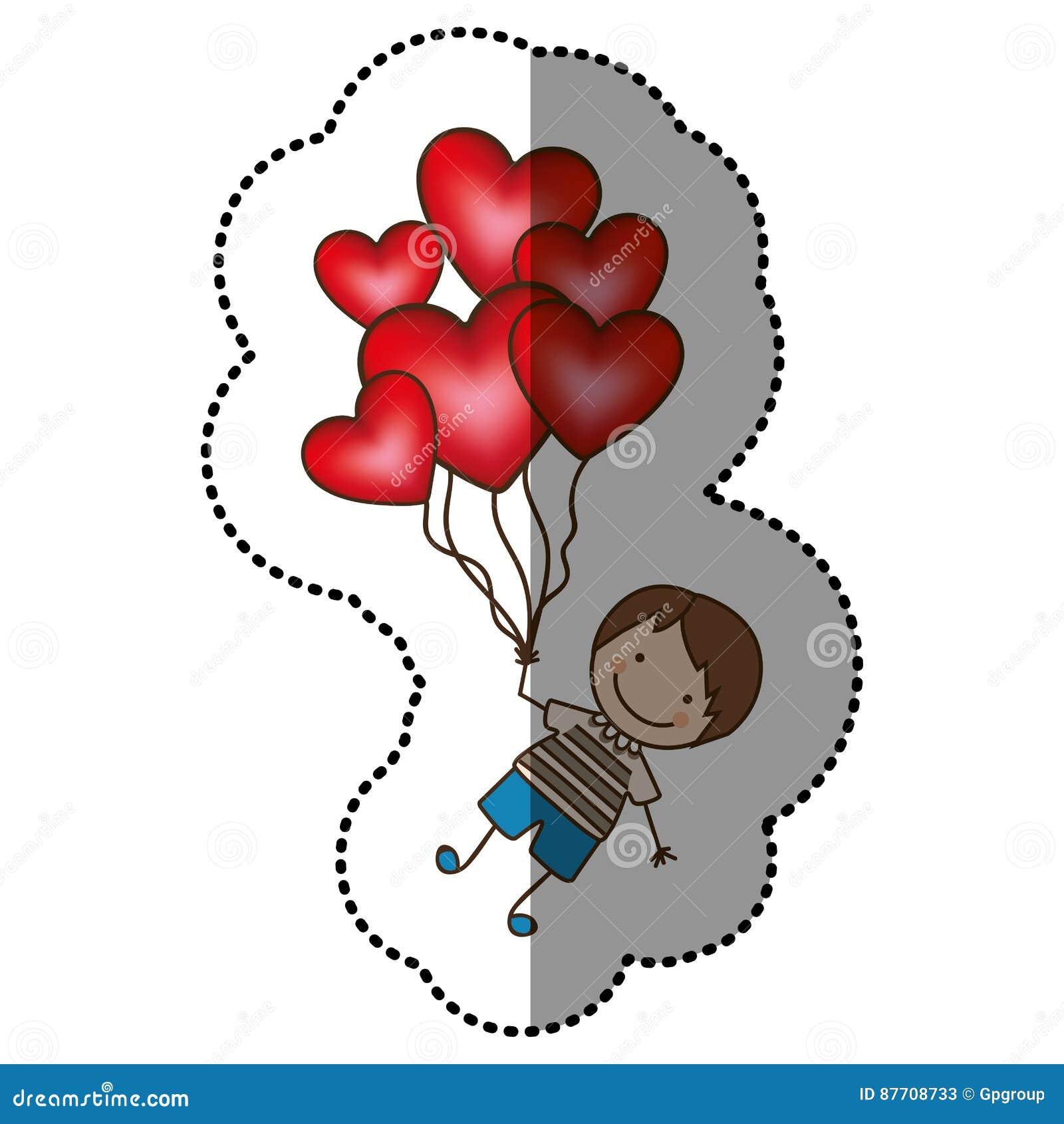Colorez le garçon avec les ballons rouges de coeur dans les mains
