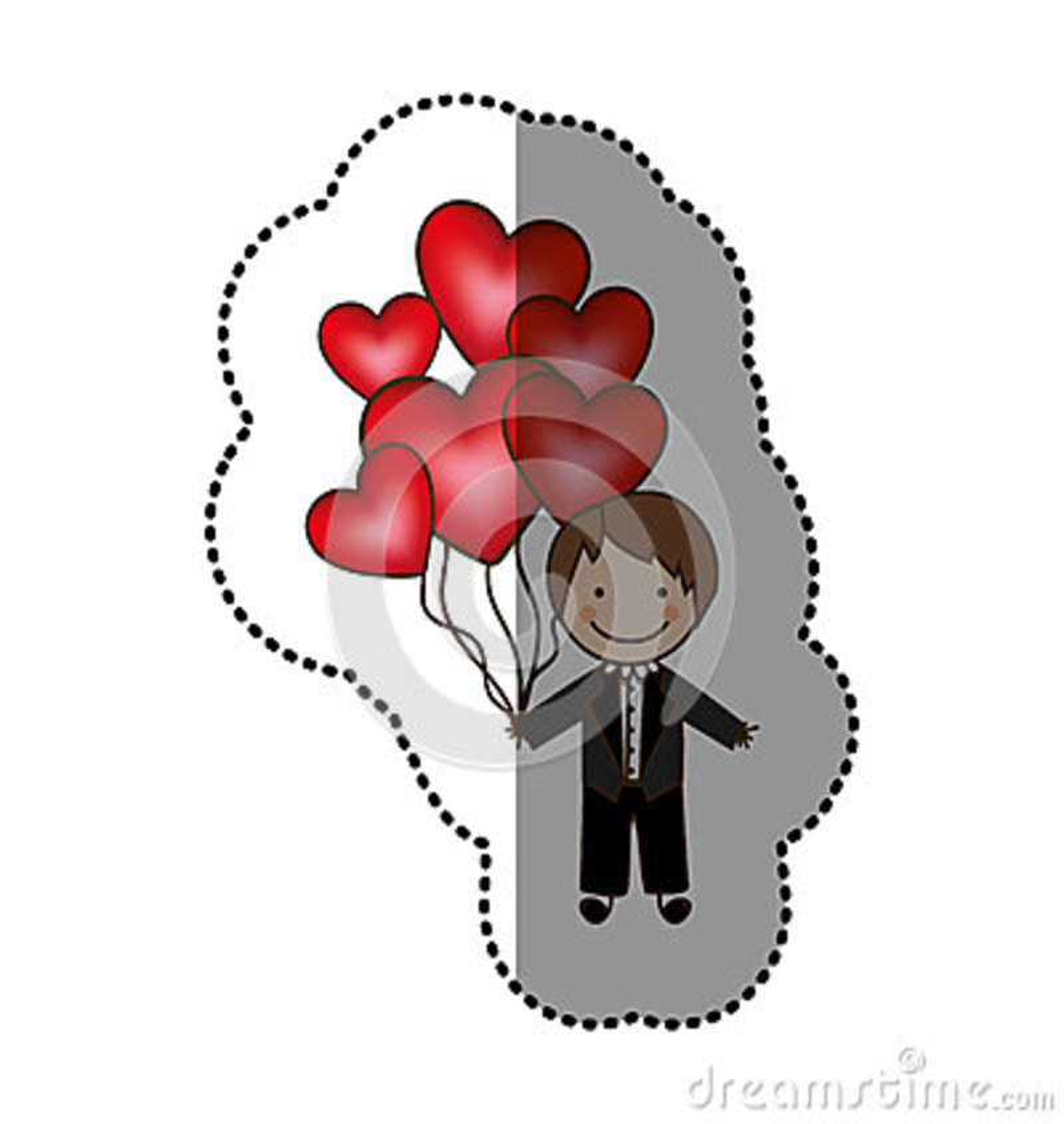 Colorez le jeune marié avec les ballons rouges de coeur dans sa main