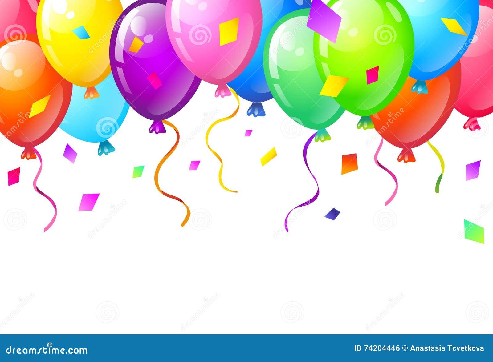 Colorez Les Ballons Brillants De Joyeux Anniversaire Illustration De