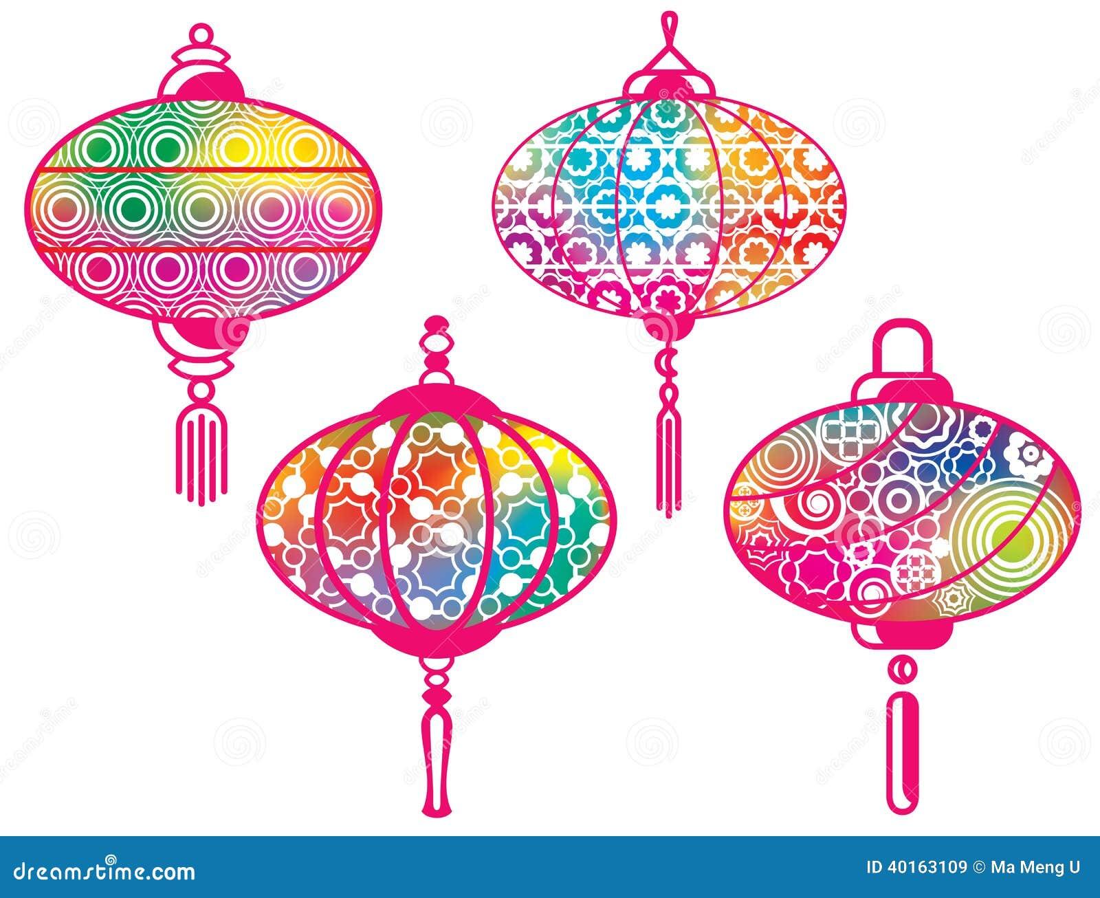 colorez les lampions chinois r gl s illustration de. Black Bedroom Furniture Sets. Home Design Ideas